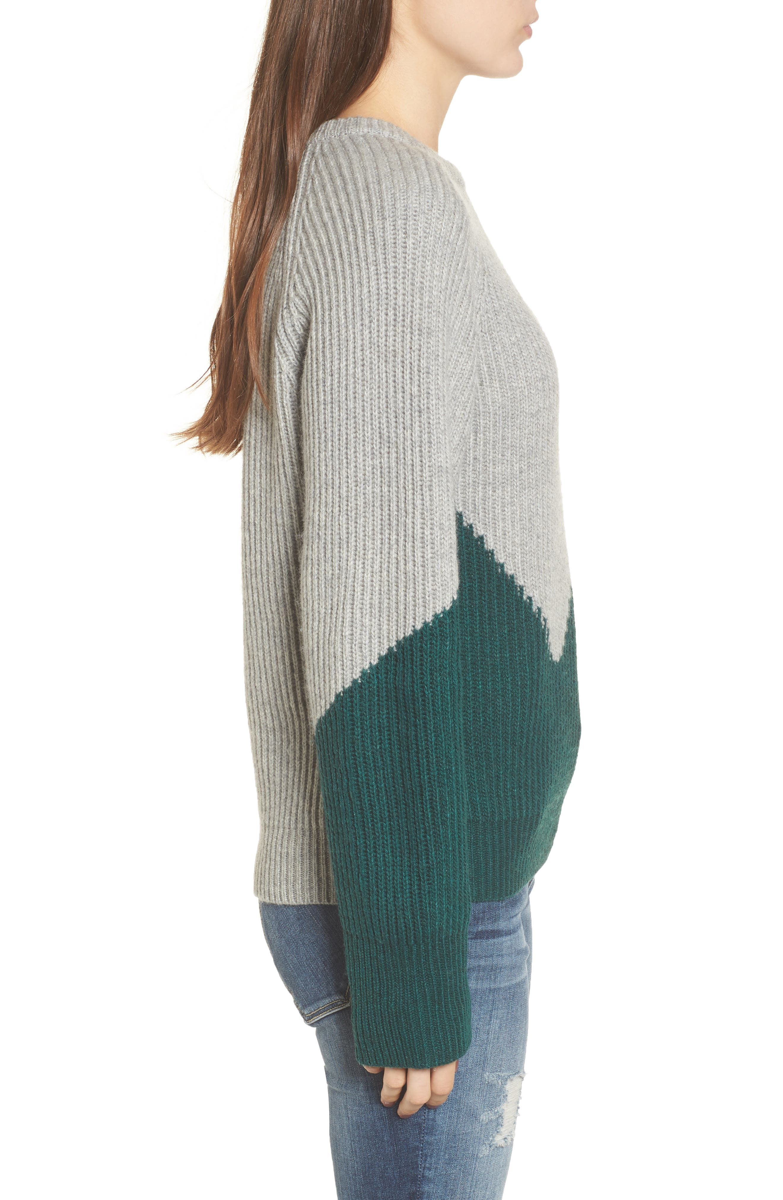 Unbalanced Pattern Wool Blend Sweater,                             Alternate thumbnail 3, color,                             313