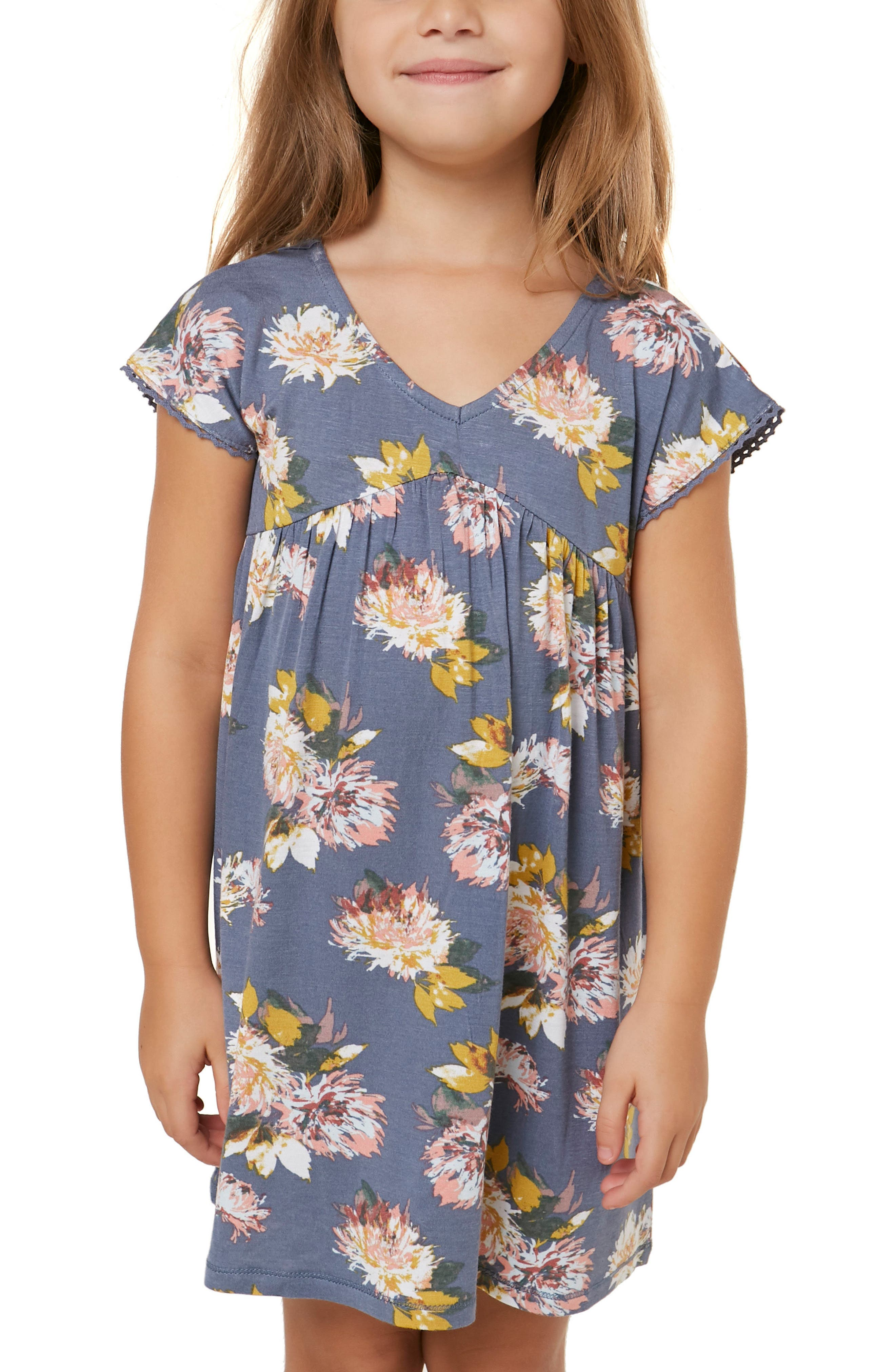 Lena Floral Dress,                             Alternate thumbnail 4, color,                             SLATE