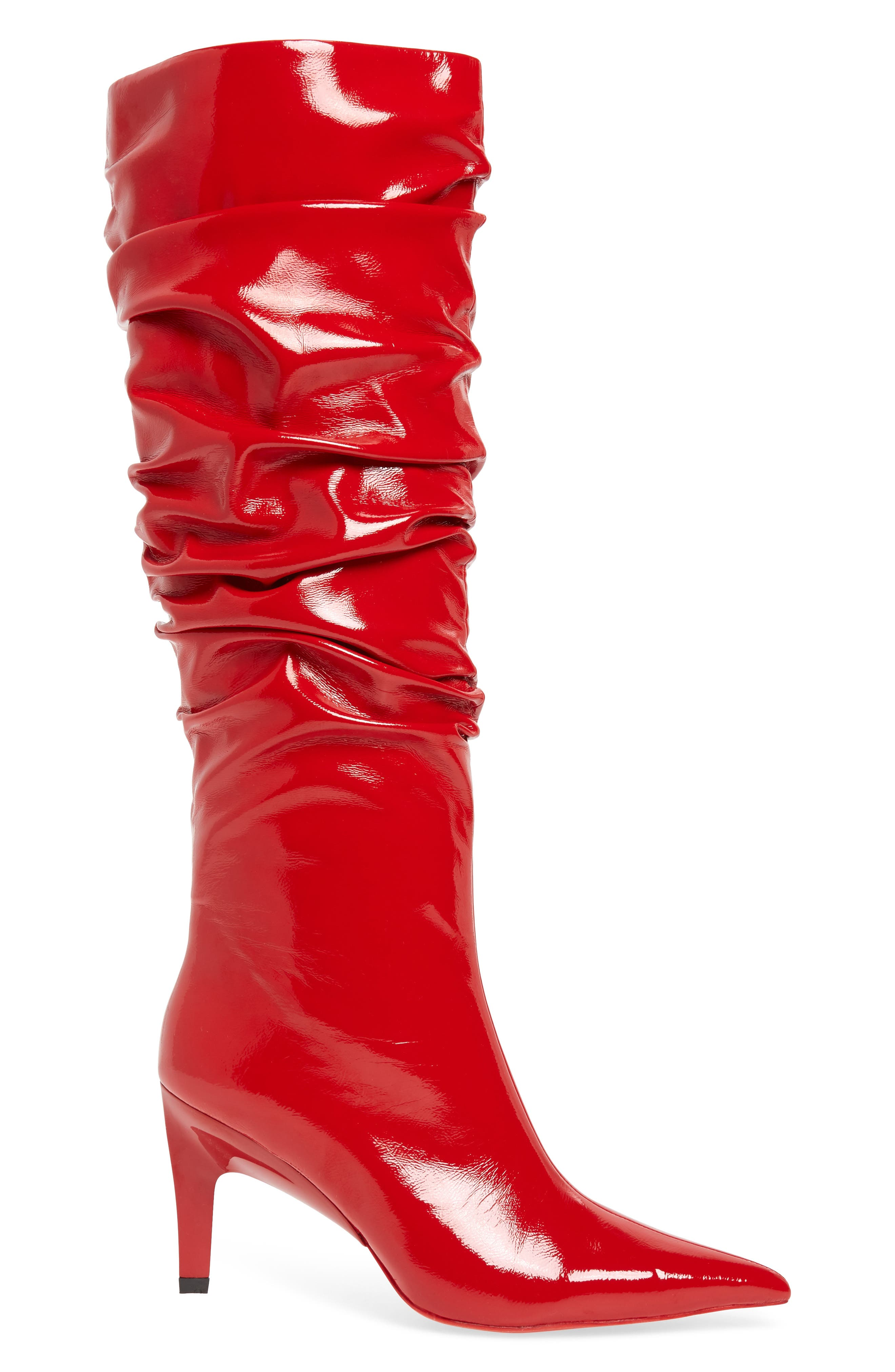 Brutish Knee High Boot,                             Alternate thumbnail 3, color,                             RED PATENT