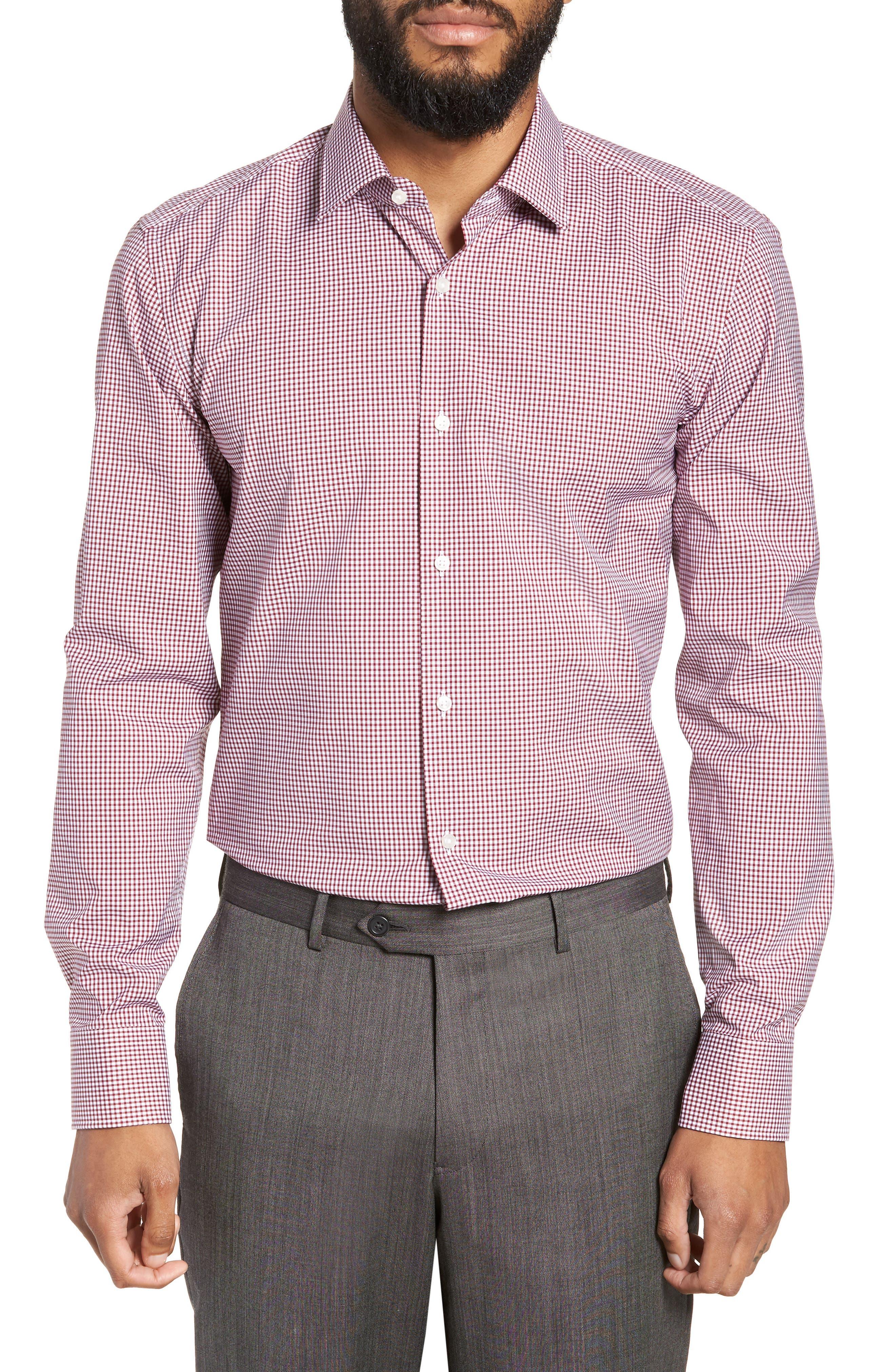Jenno Slim Fit Check Dress Shirt,                             Main thumbnail 1, color,                             RED