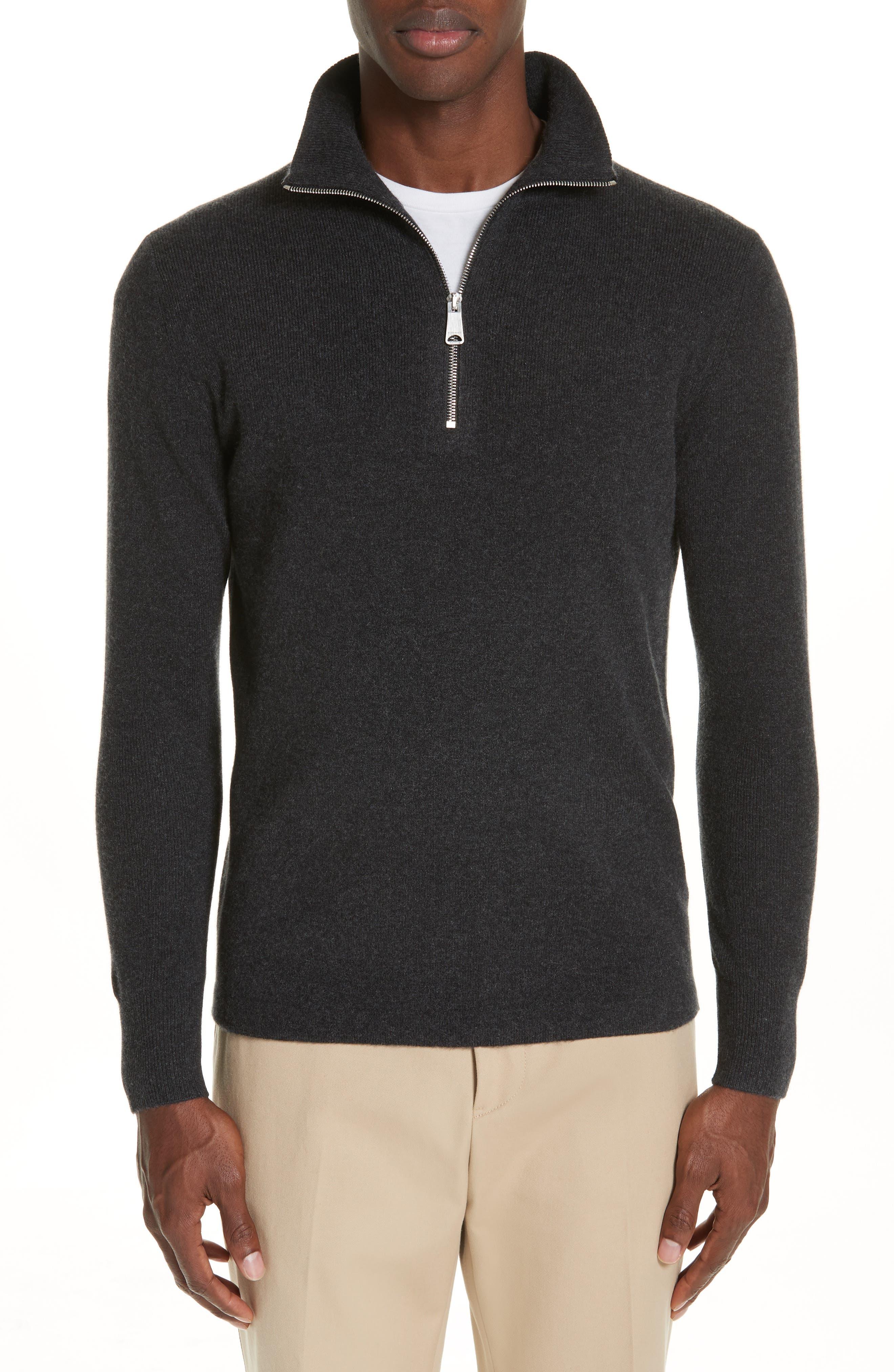 Hendon Quarter Zip Cashmere Sweater,                             Main thumbnail 1, color,                             CHARCOAL MELANGE