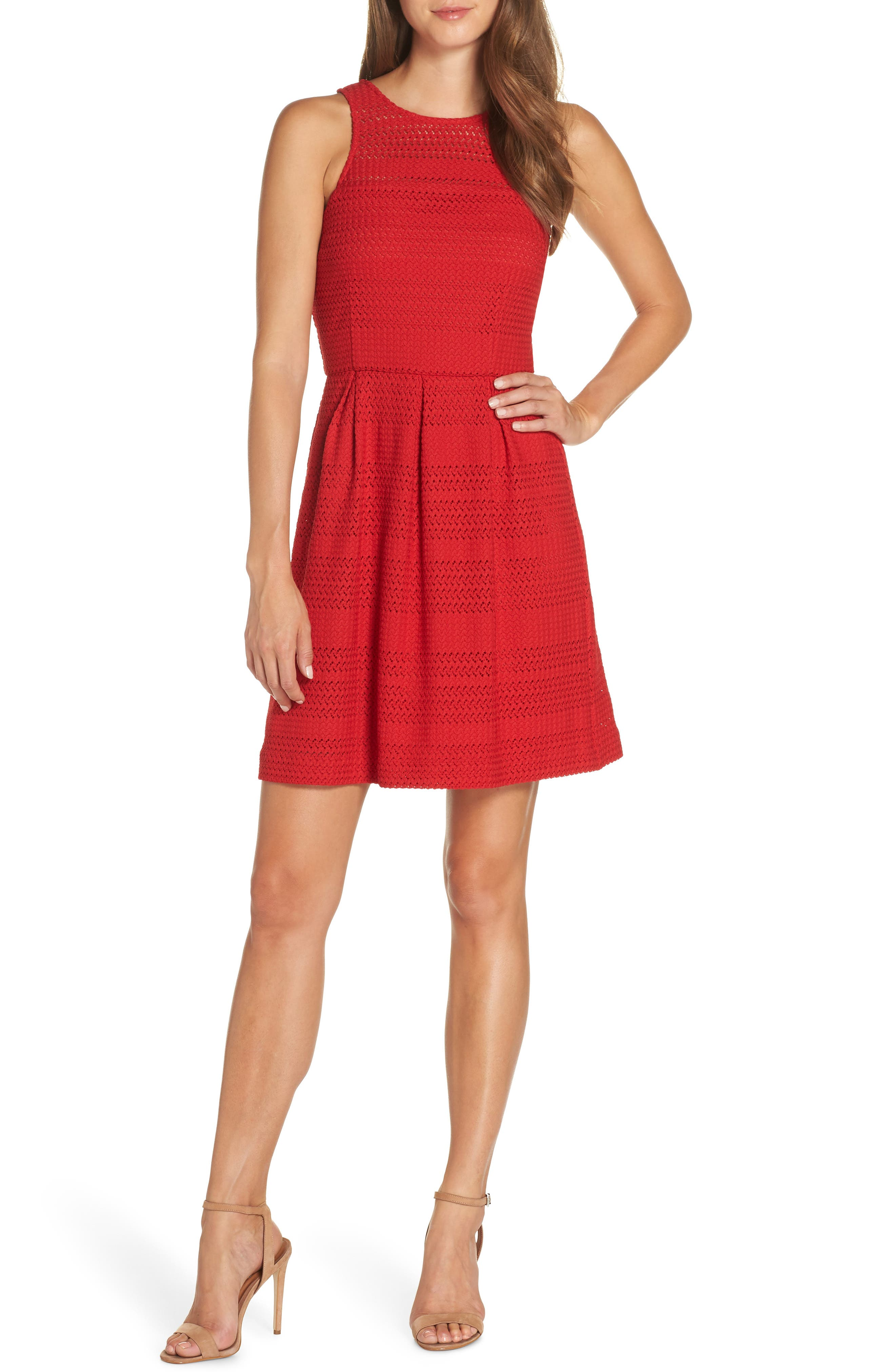 Keon Lace Fit & Flare Dress,                         Main,                         color, 645