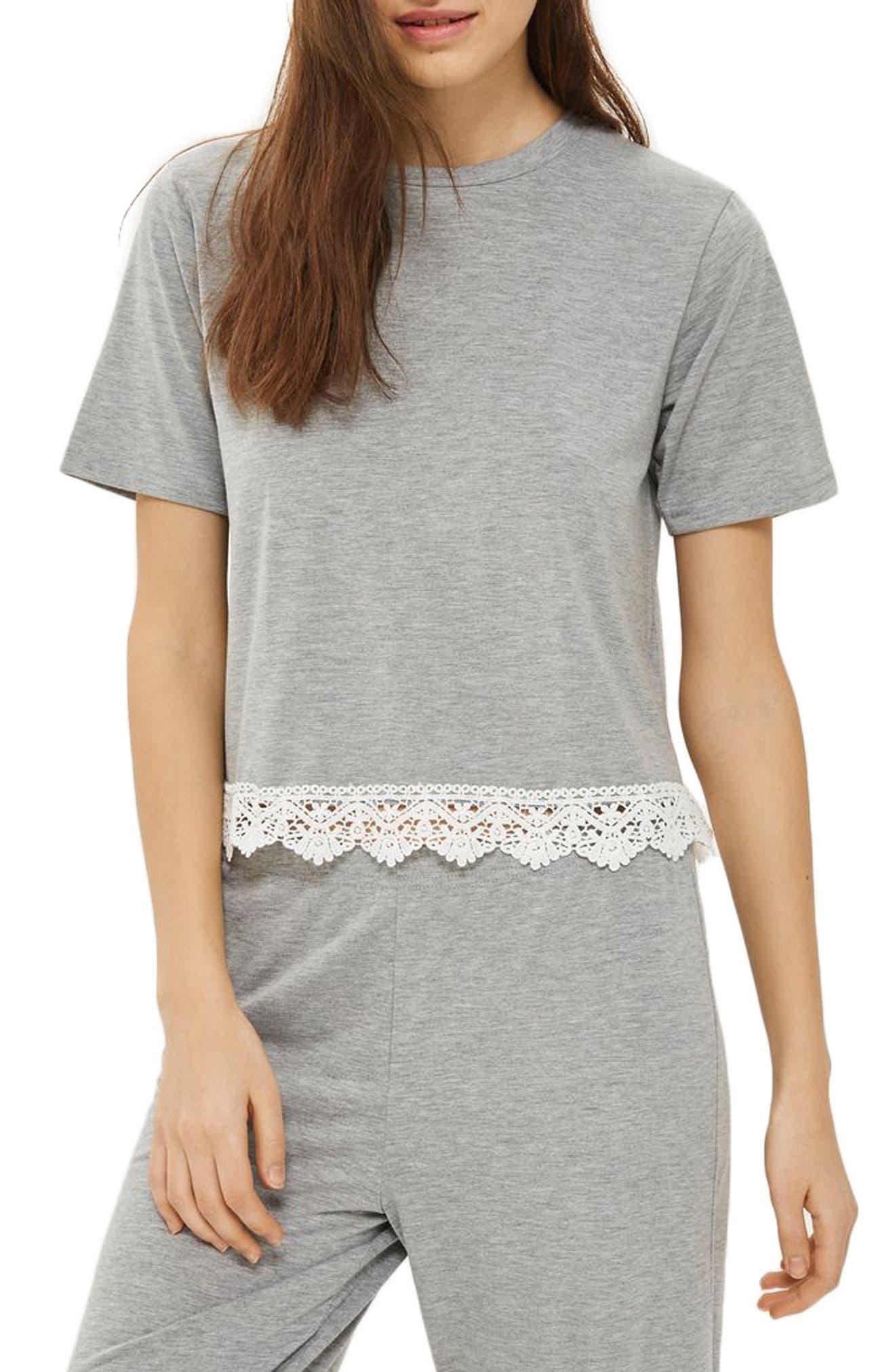 Crochet Trim Pajama Top,                         Main,                         color, 020