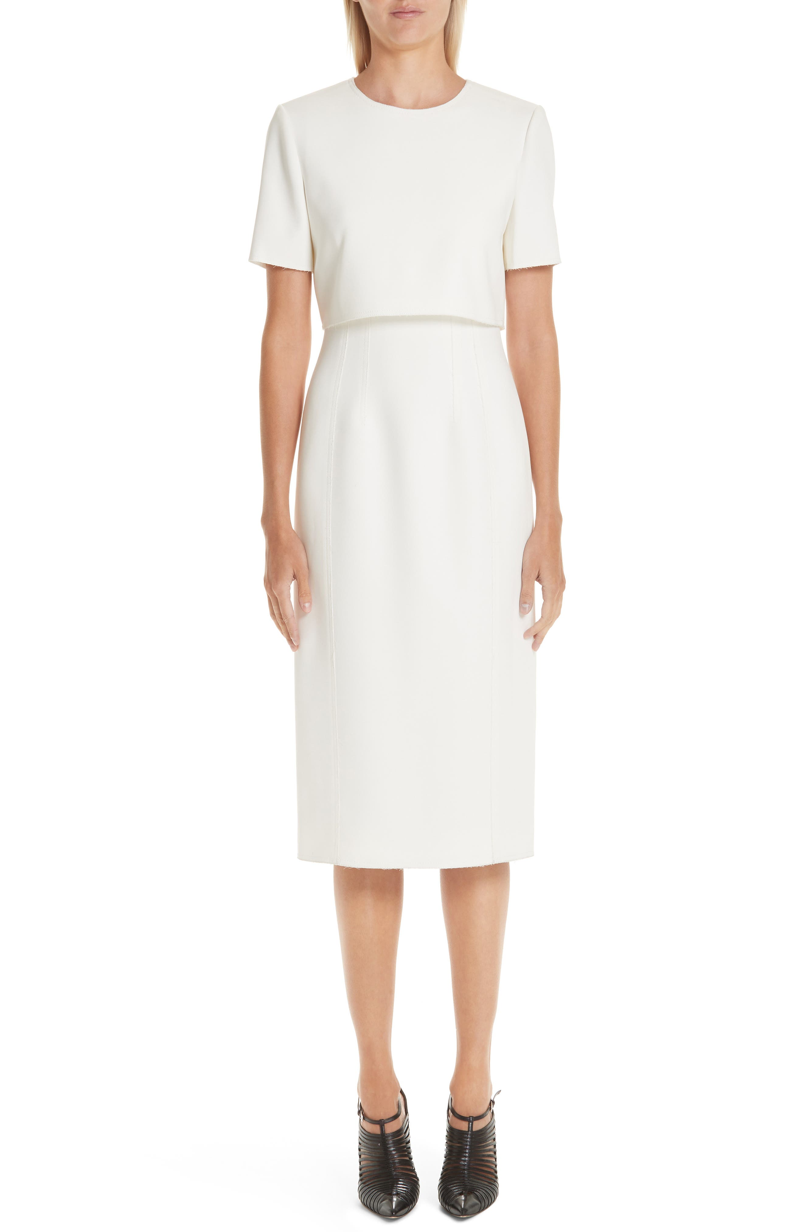 Short-Sleeve Over-Bodice Compact Crepe Sheath Dress in Chalk