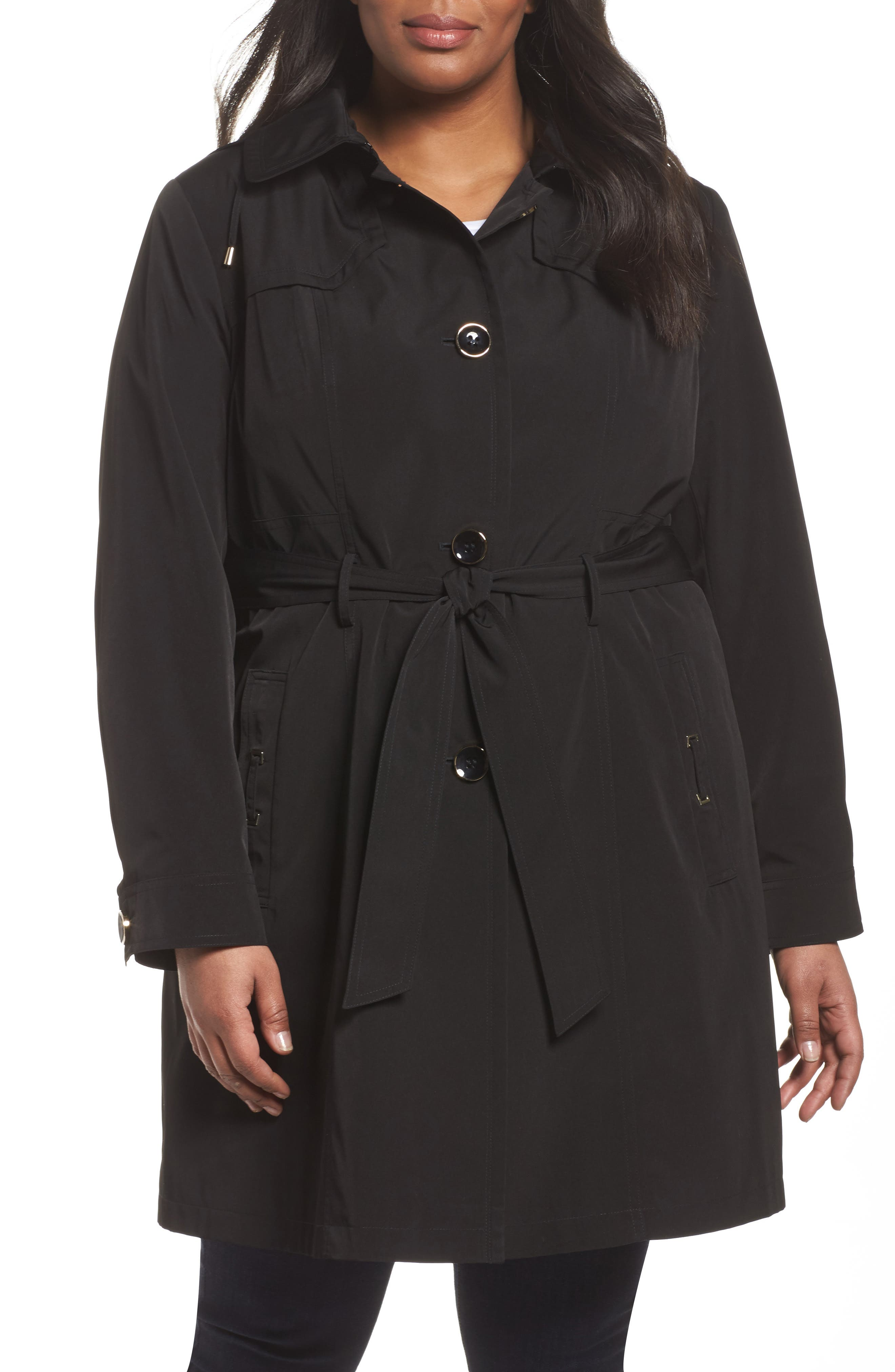 Belted Trench Raincoat,                         Main,                         color, 001