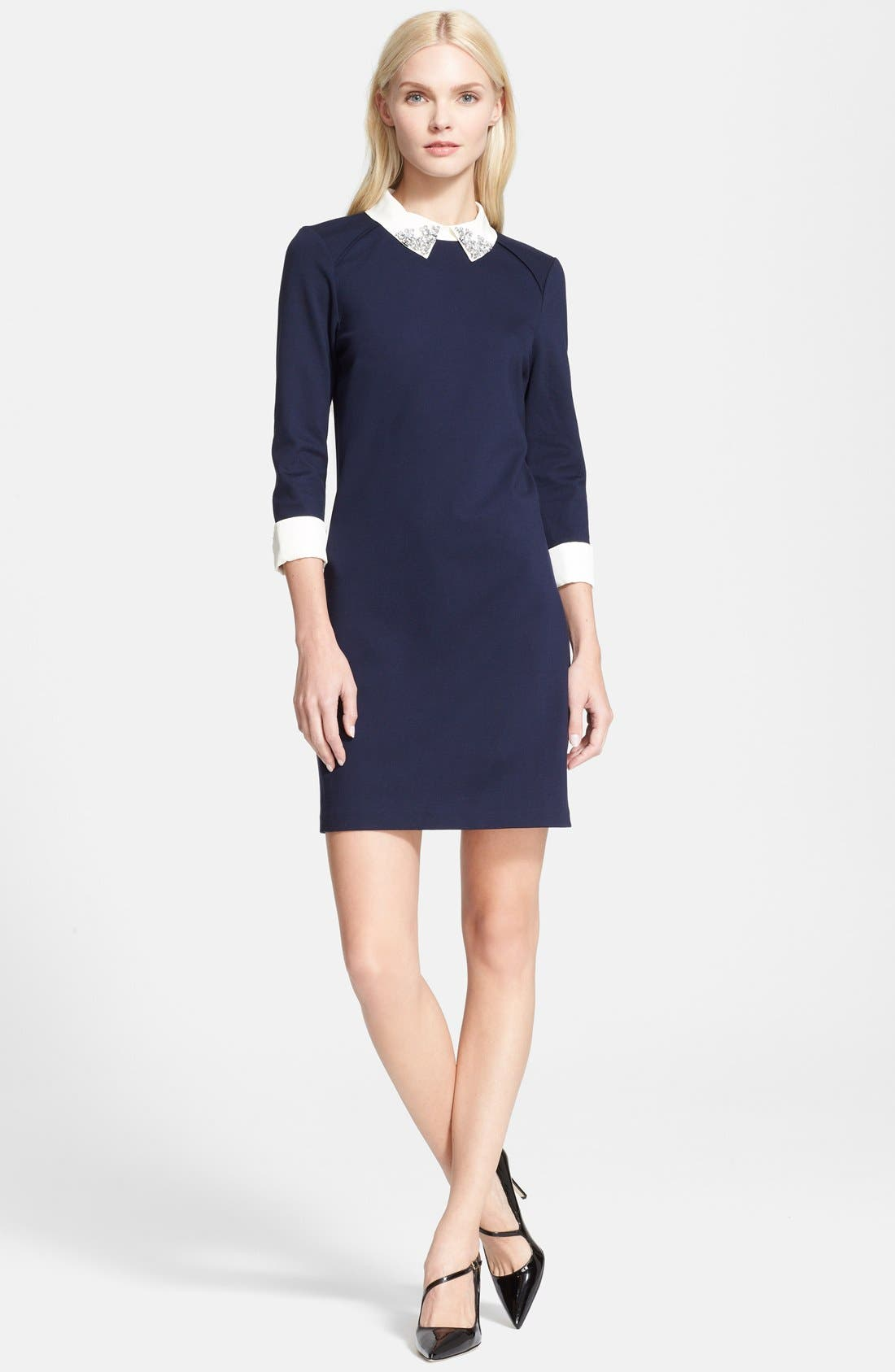 'Eelah' Embellished Collar Shift Dress,                             Main thumbnail 1, color,                             421
