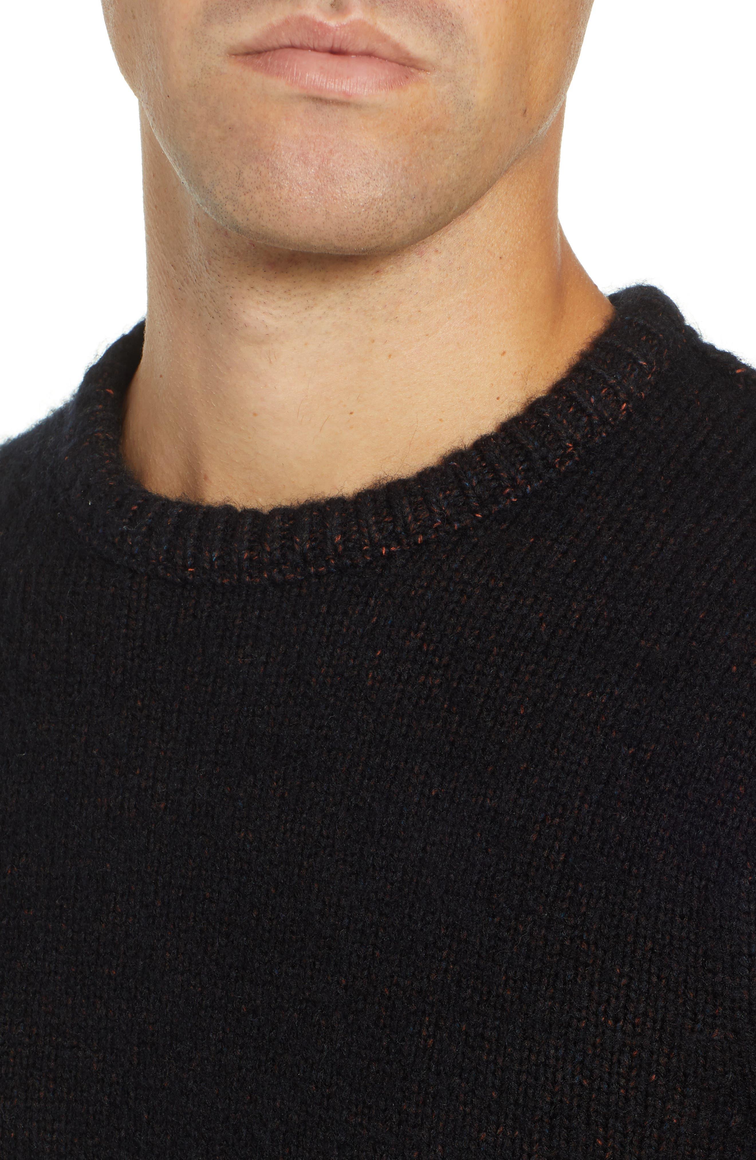 Chunky Crewneck Sweater,                             Alternate thumbnail 4, color,                             BLACK CAVIAR TWIST
