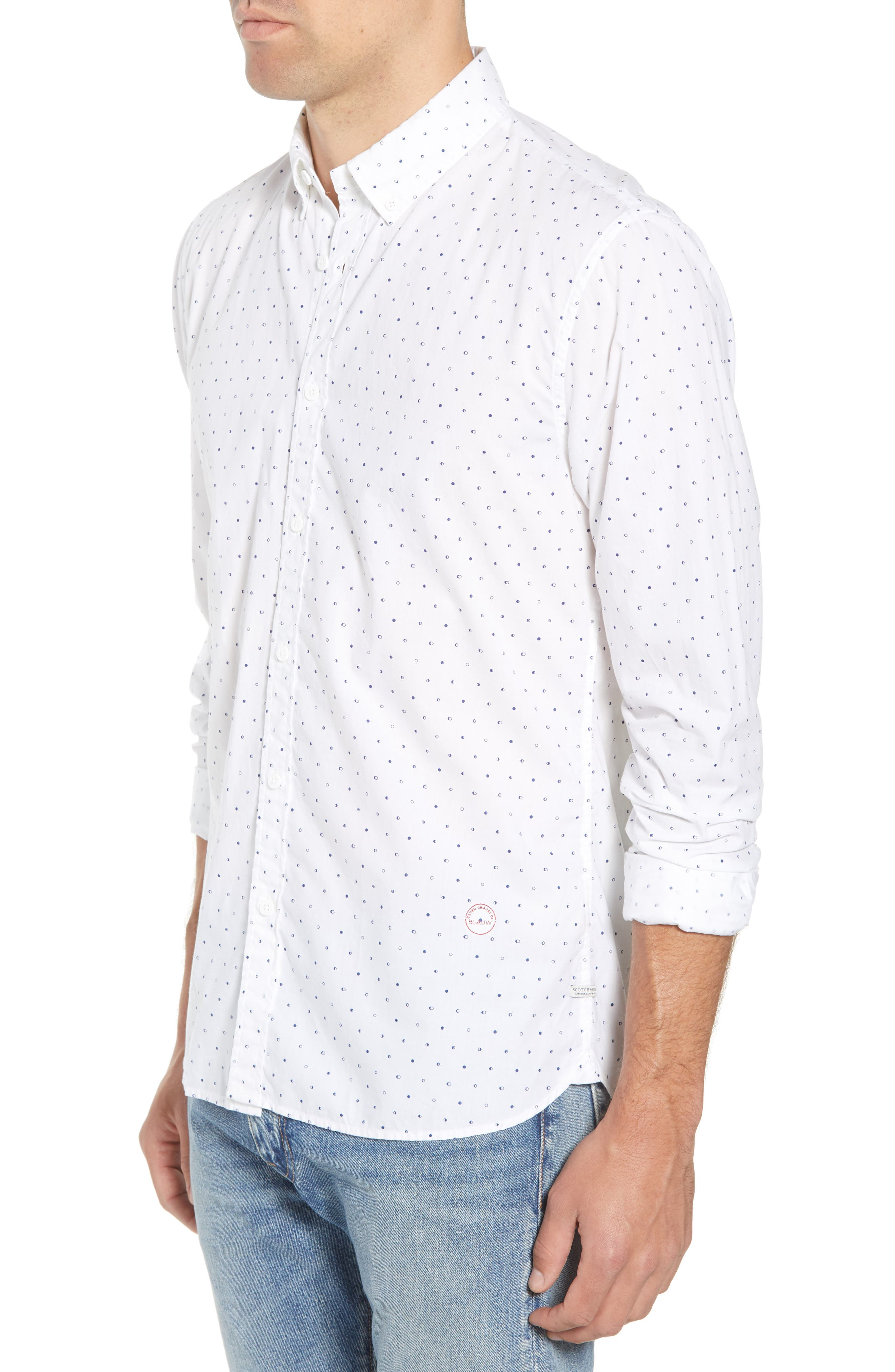 Amsterdams Blauw Simple Light Print Sport Shirt,                             Alternate thumbnail 3, color,                             110