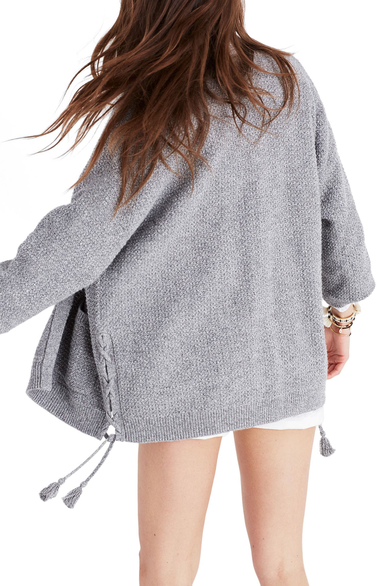 Side Lace-Up Cardigan,                             Alternate thumbnail 2, color,                             020