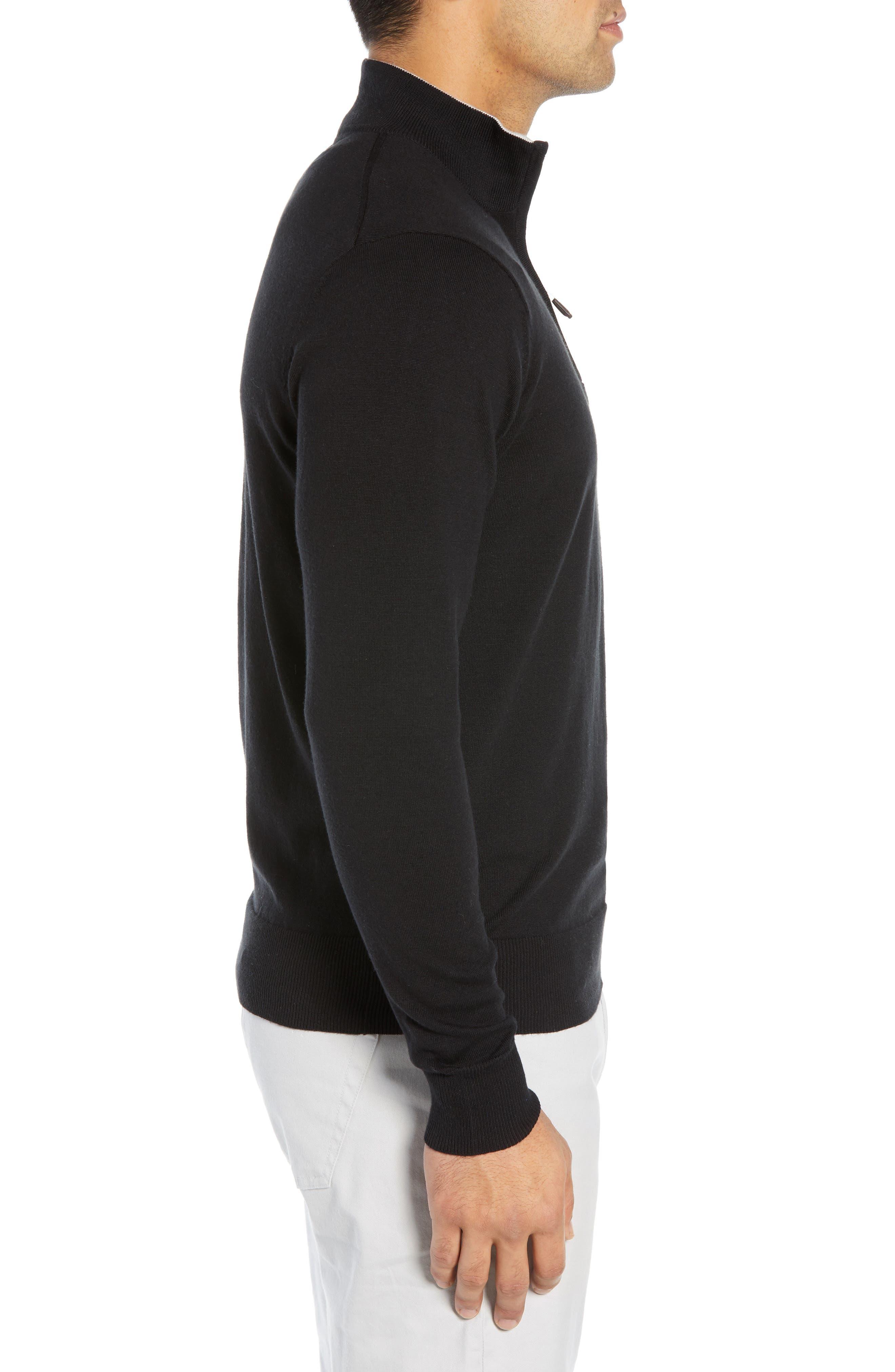 PETER MILLAR,                             Crown Quarter Zip Sweater,                             Alternate thumbnail 3, color,                             BLACK