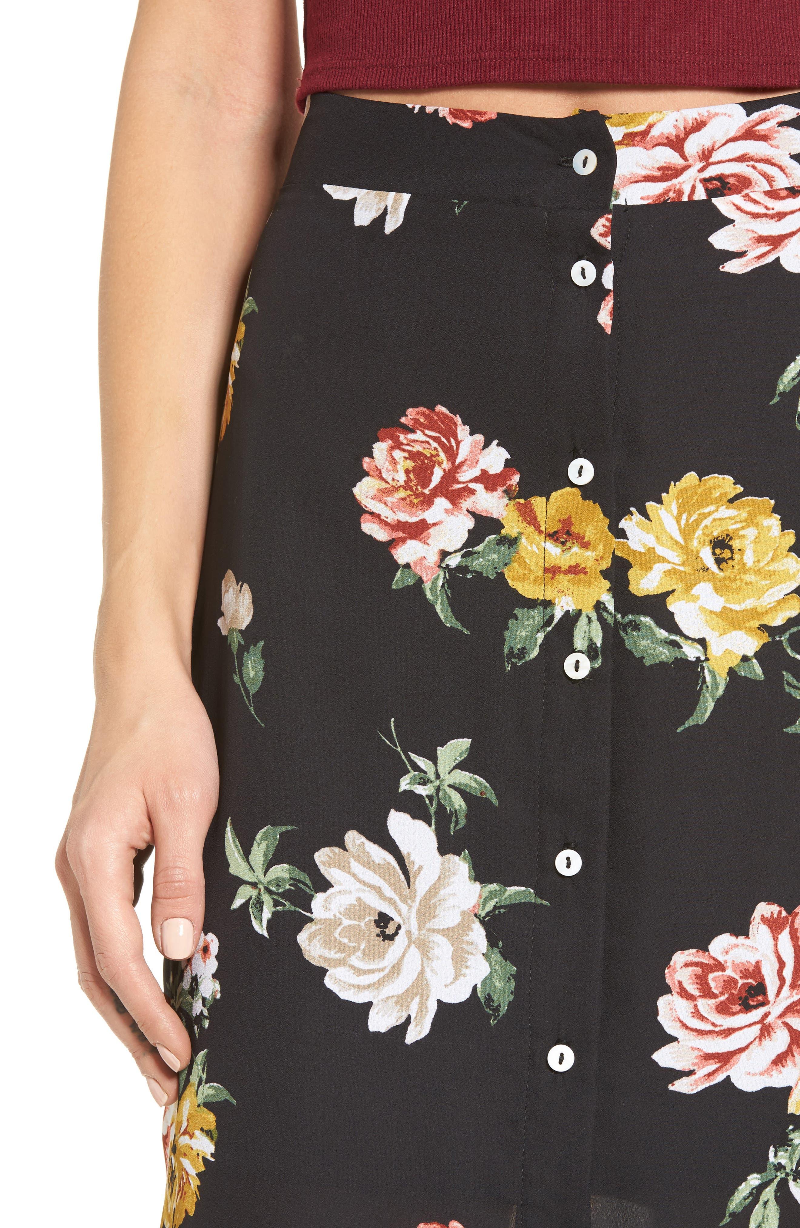 Floral Print Maxi Skirt,                             Alternate thumbnail 4, color,                             001
