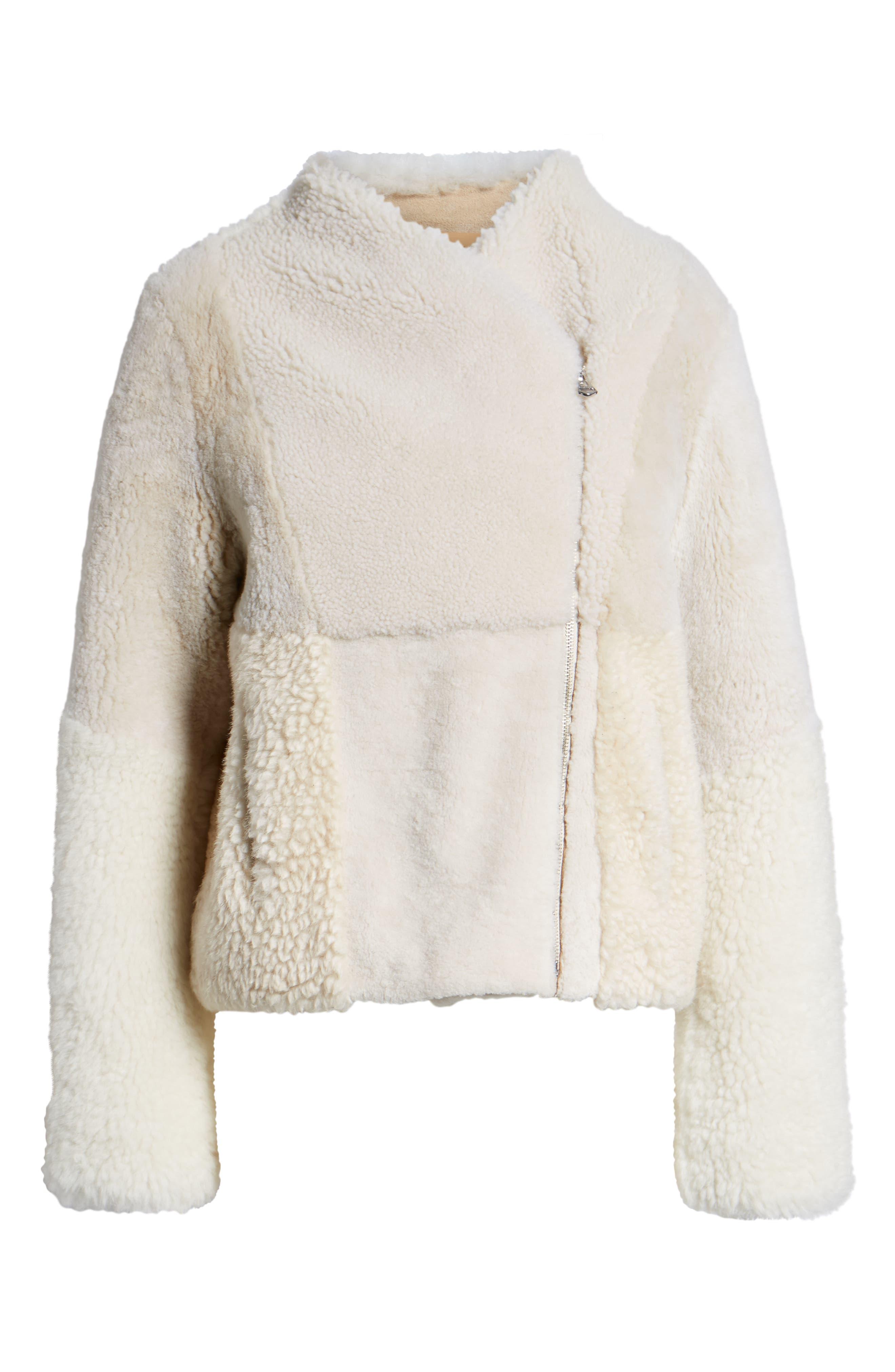 Patchwork Genuine Shearling Jacket,                             Alternate thumbnail 6, color,                             CREAM