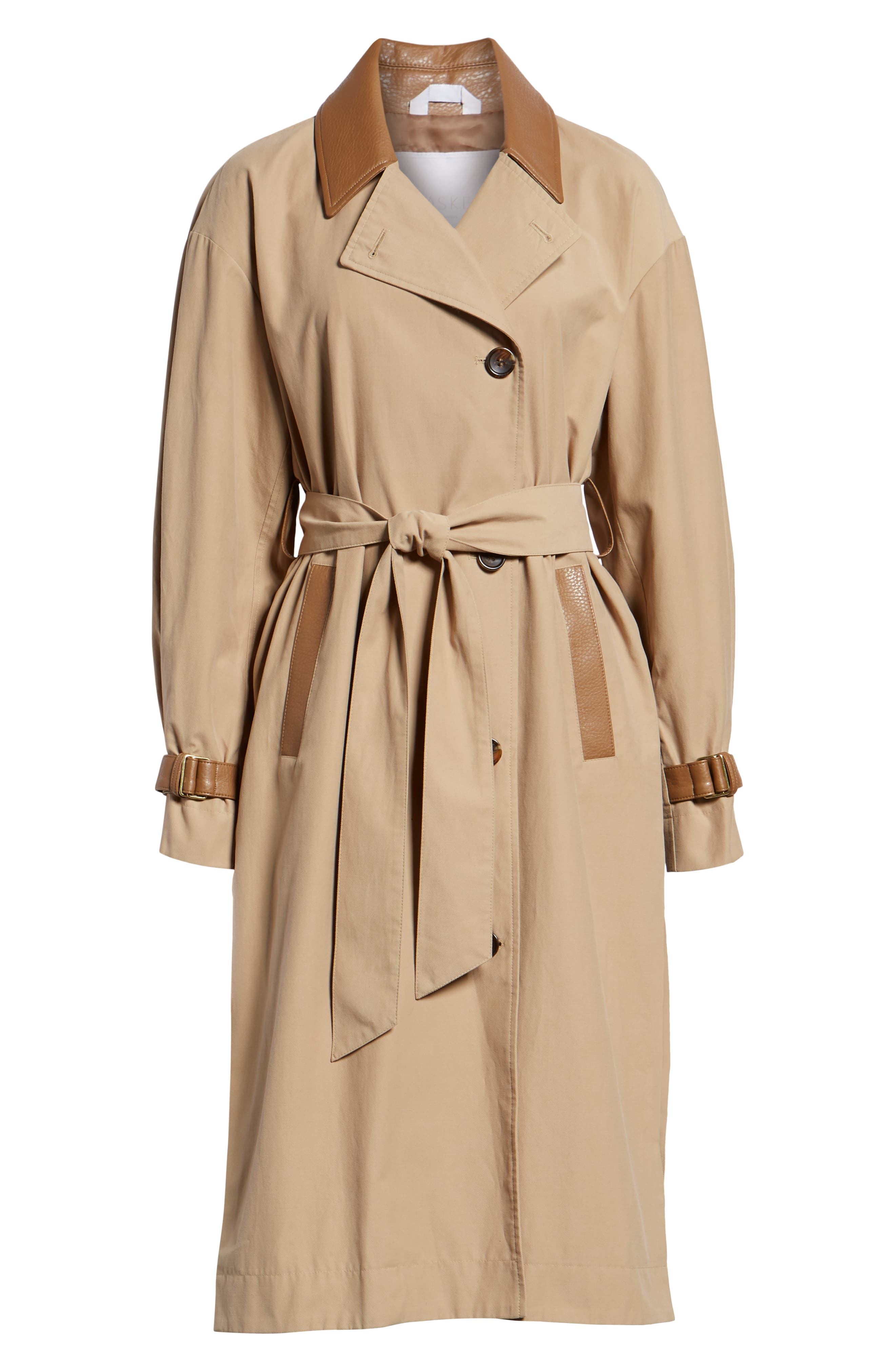 Grace Oversize Twill Trench Coat,                             Alternate thumbnail 6, color,                             SAND