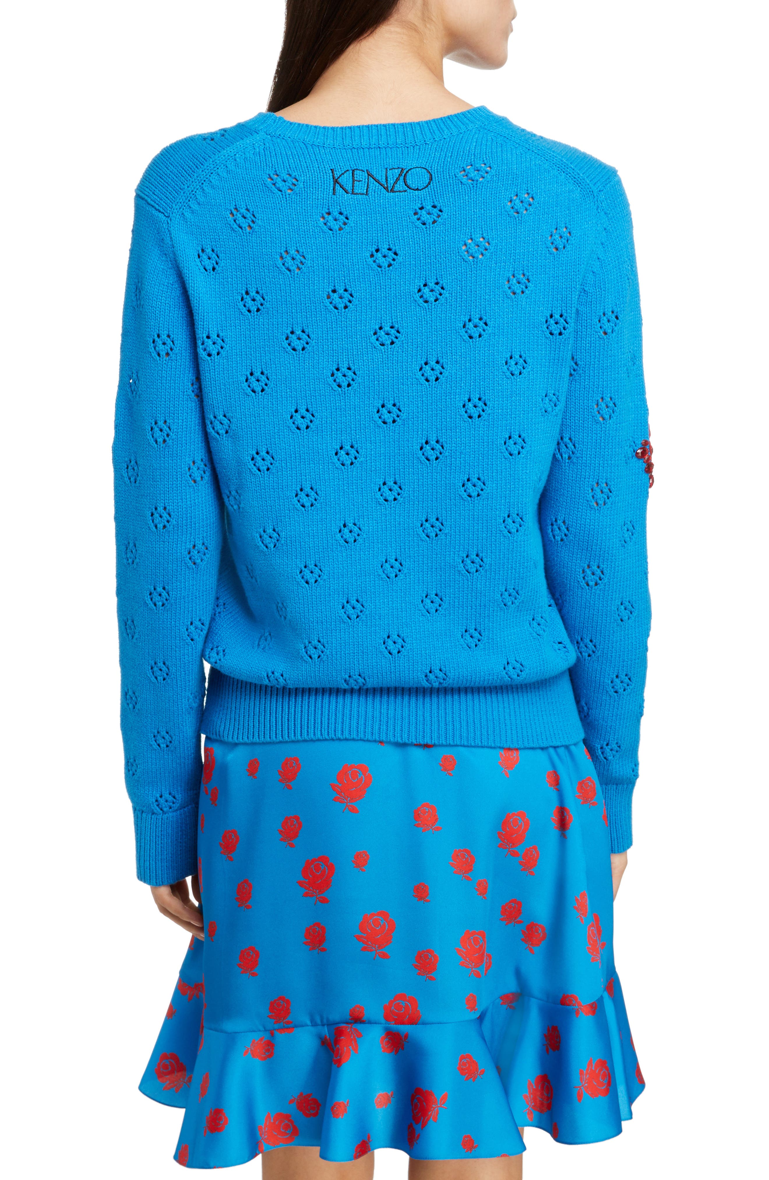 Floral Patch Sweater,                             Alternate thumbnail 2, color,                             FRENCH BLUE