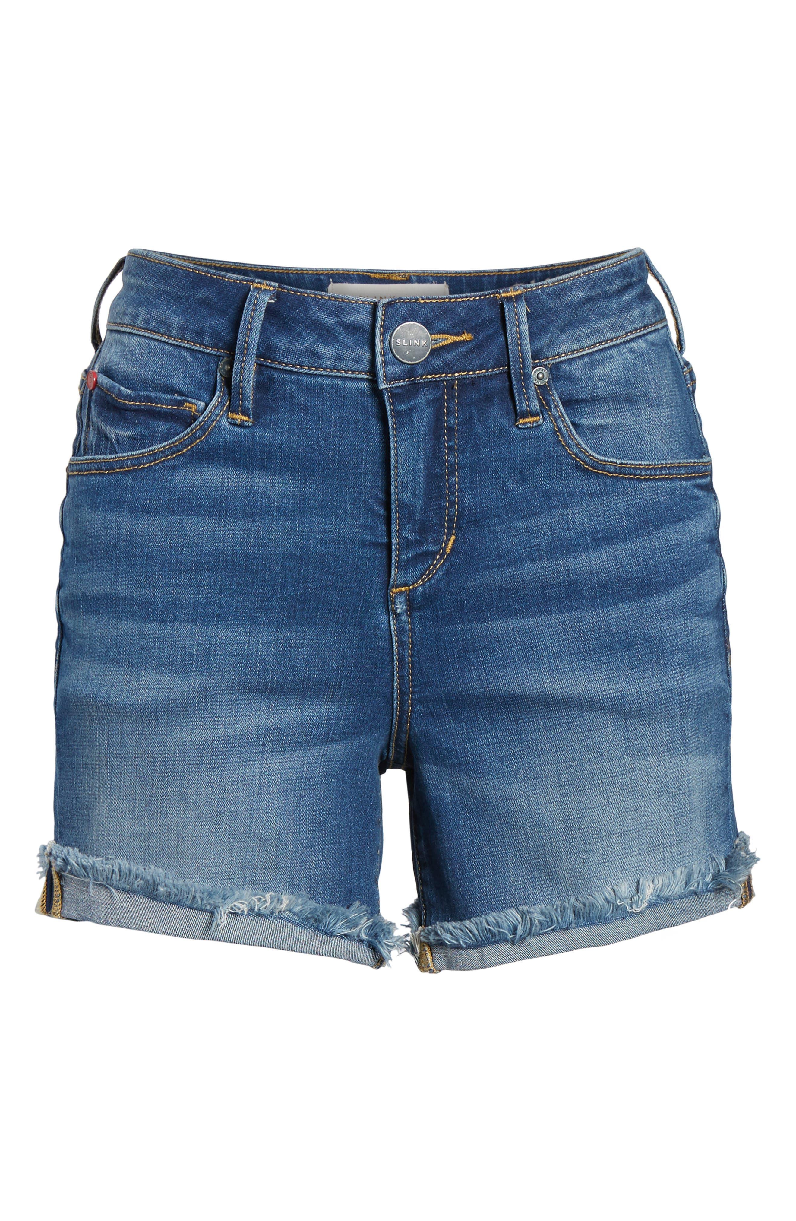 Frayed Denim Shorts,                             Alternate thumbnail 6, color,                             BIRDY