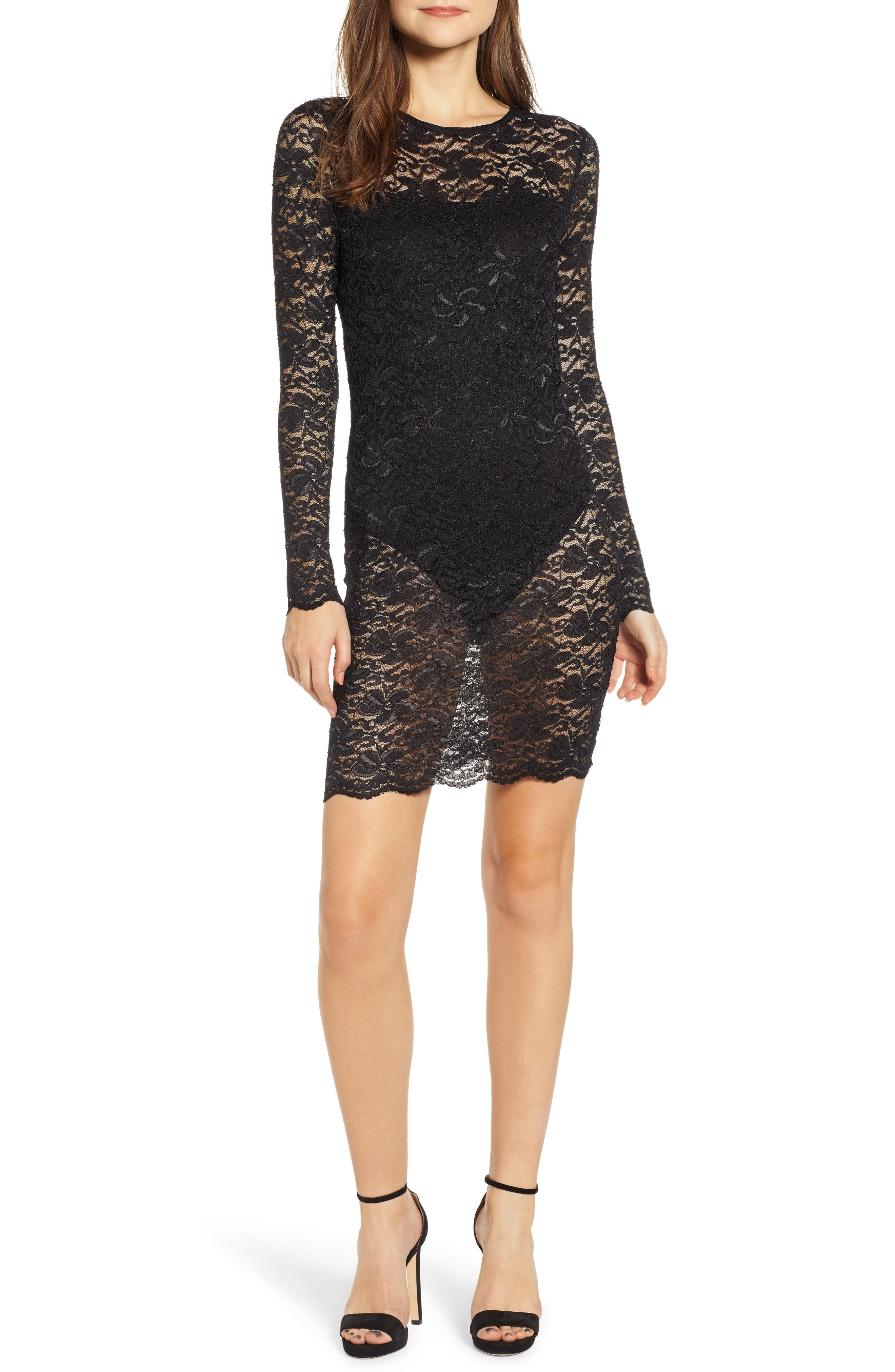 Leith Lace Overlay Body-Con Dress, Black