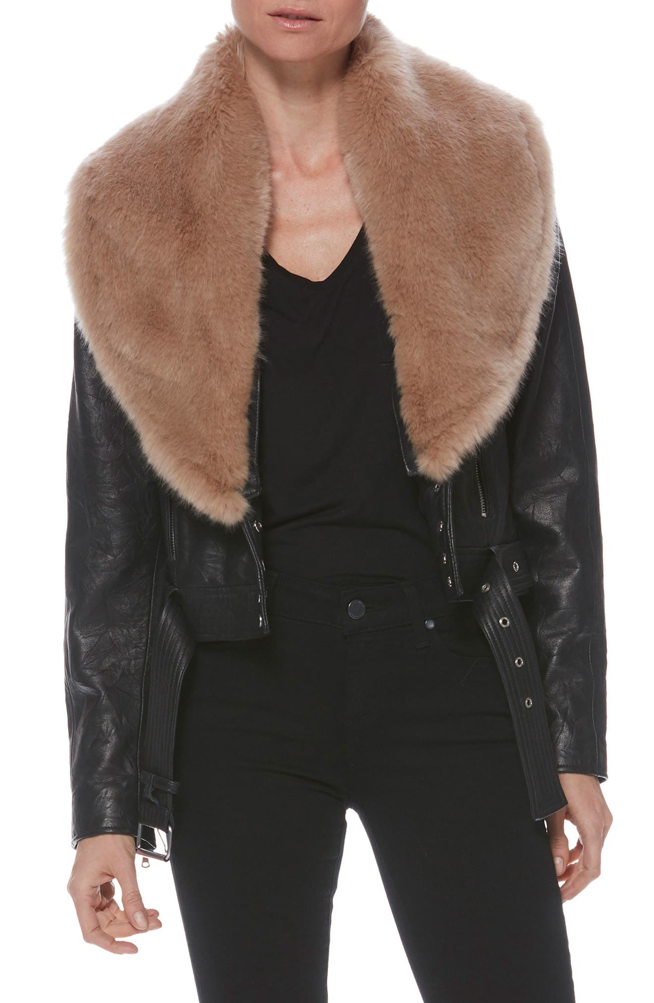 Rizza Lambskin Leather Moto Jacket with Removable Faux Fur Collar,                             Alternate thumbnail 10, color,                             BLACK