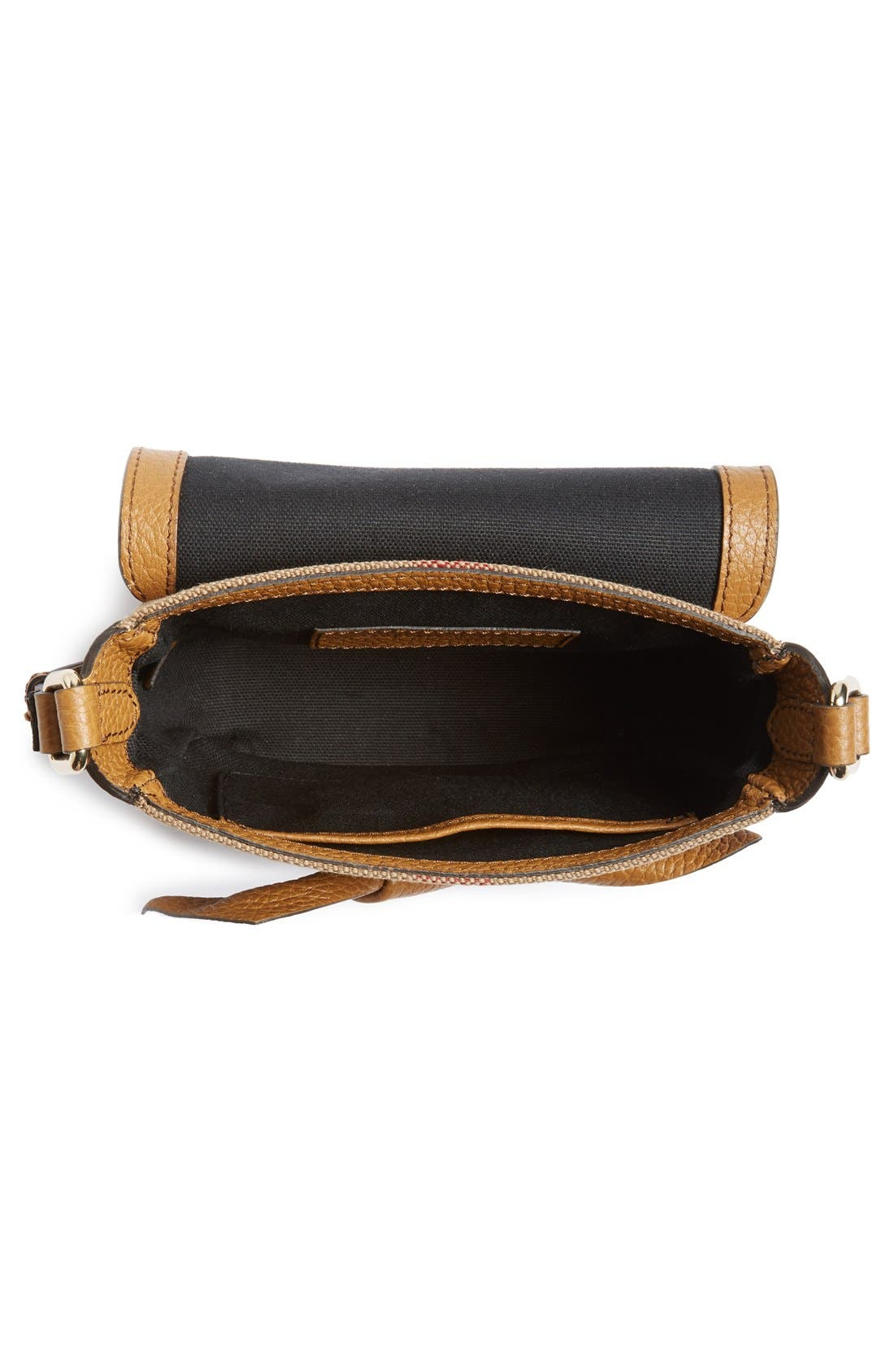 BURBERRY,                             Canvas Check & Leather Crossbody Bag,                             Alternate thumbnail 3, color,                             251