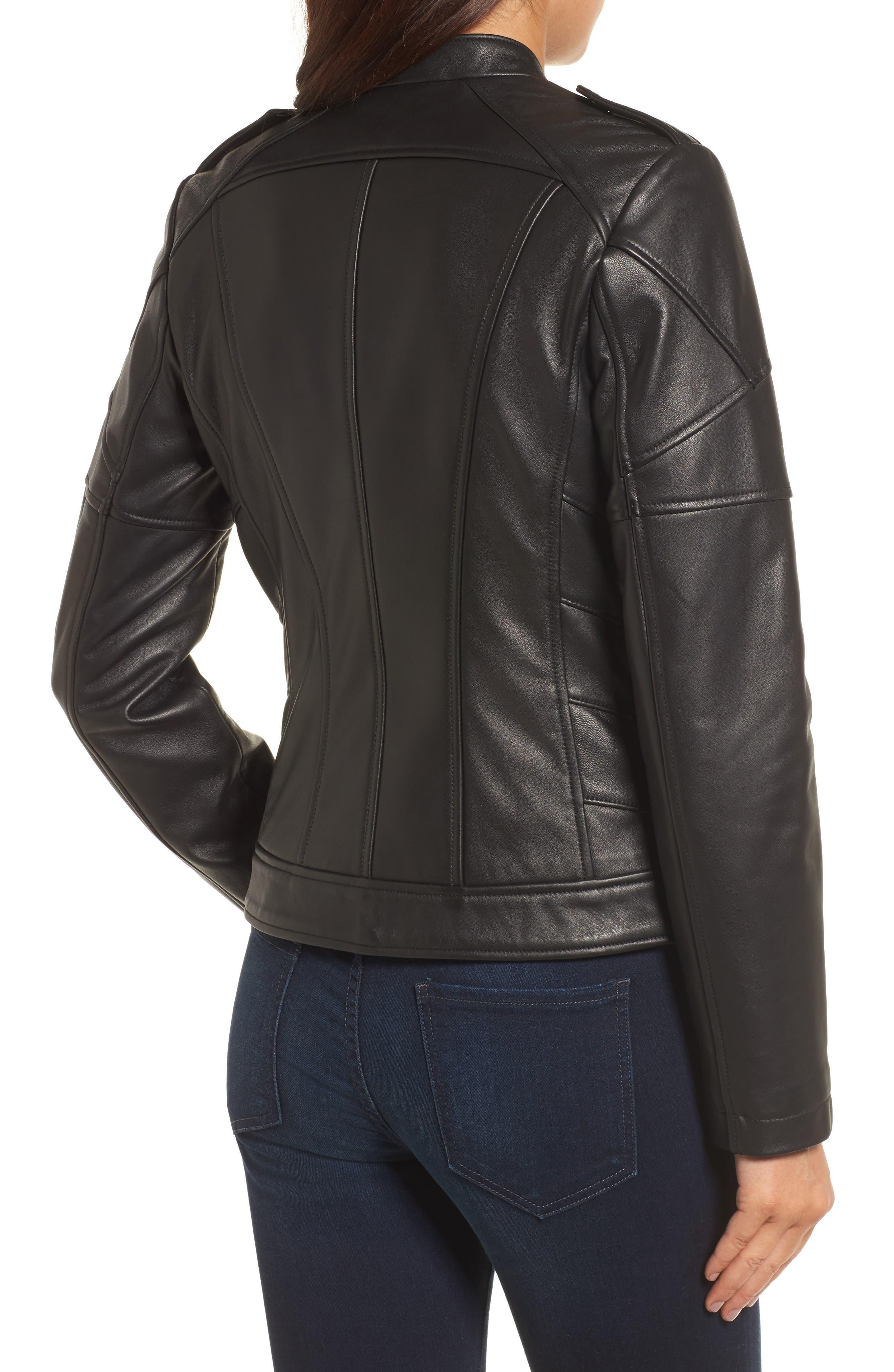 Chevron Seam Leather Jacket,                             Alternate thumbnail 2, color,                             001