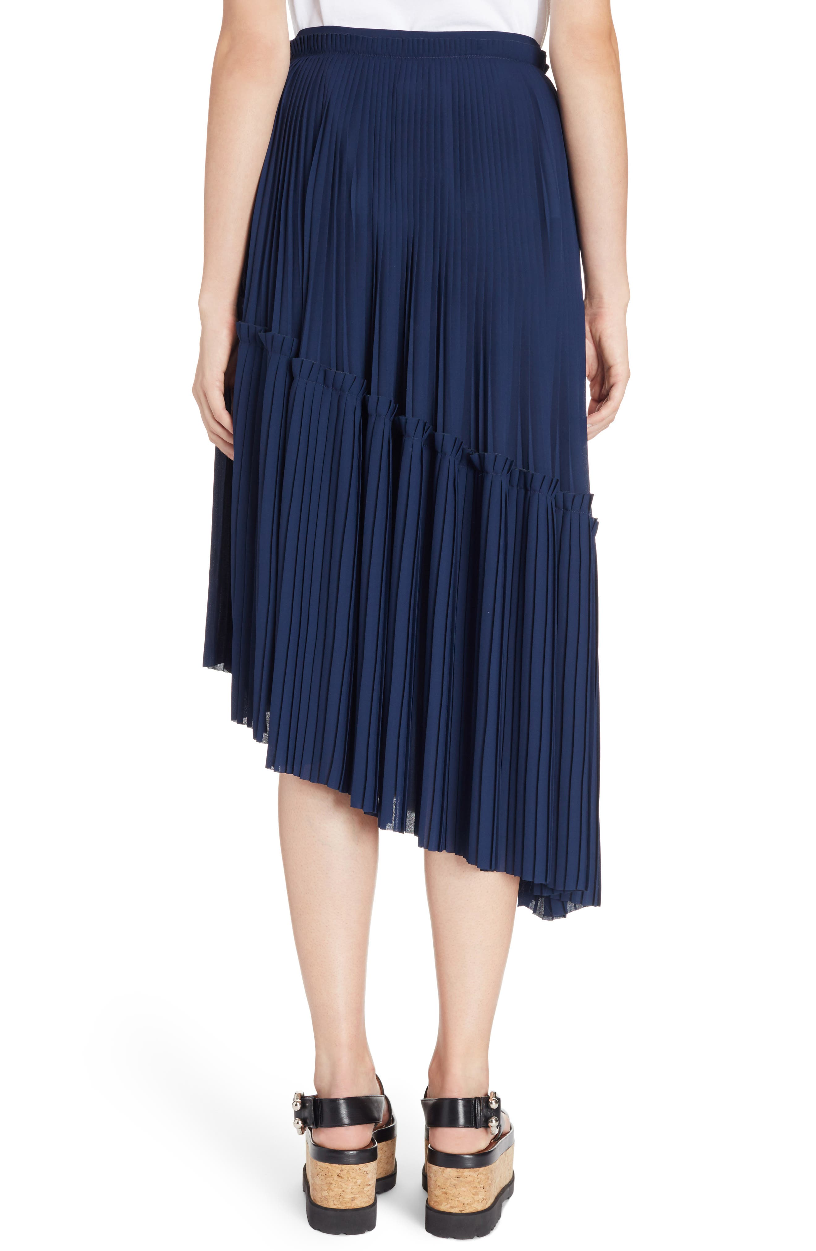 Asymmetrical Pleated Midi Skirt,                             Alternate thumbnail 2, color,                             402