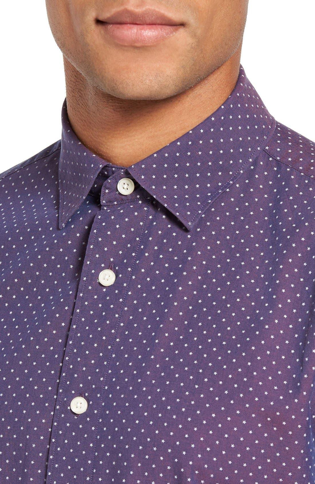 Slim Fit Star Print Sport Shirt,                             Alternate thumbnail 4, color,                             930