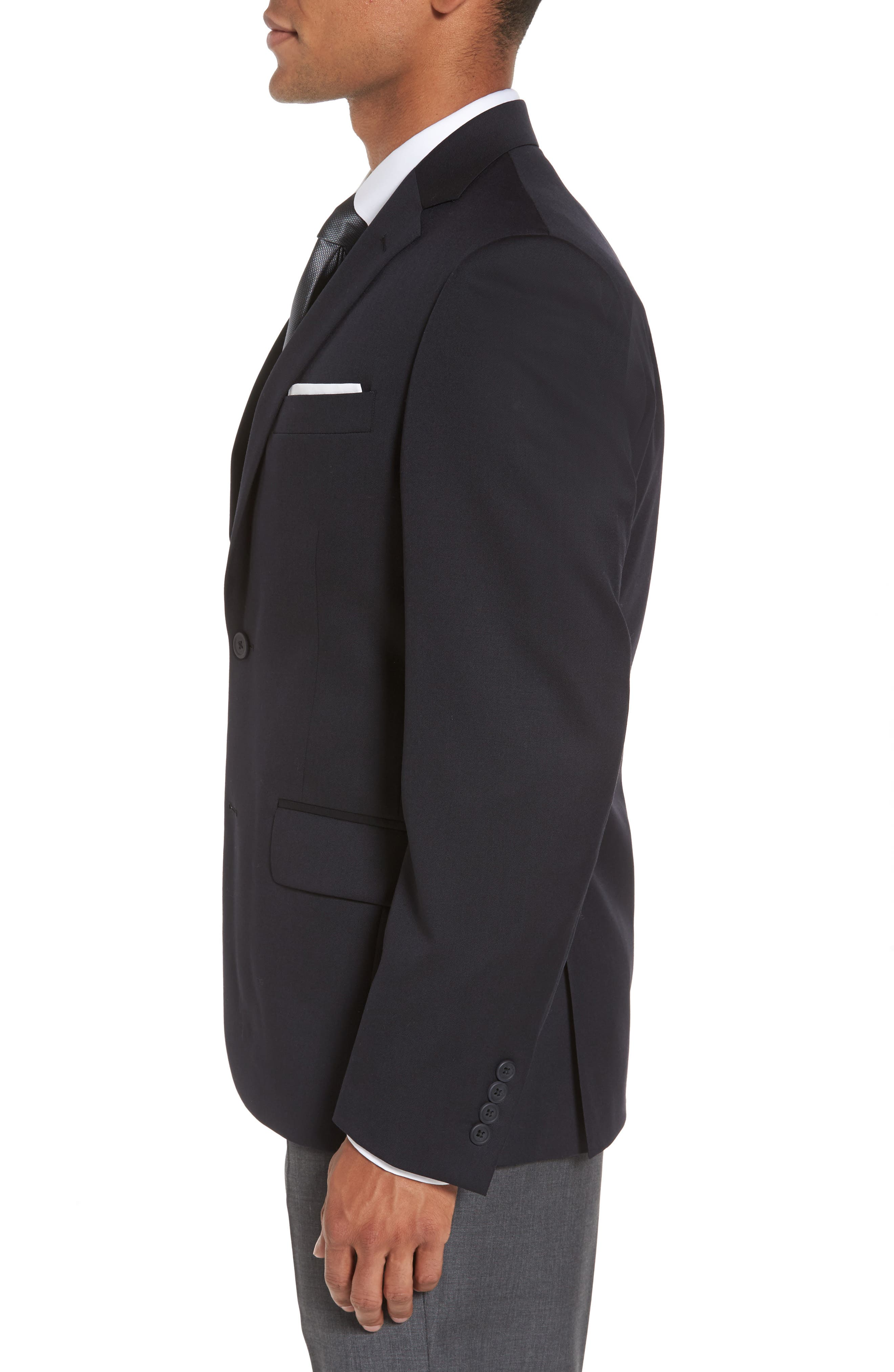 Classic Fit Solid Wool Sport Coat,                             Alternate thumbnail 3, color,                             NAVY