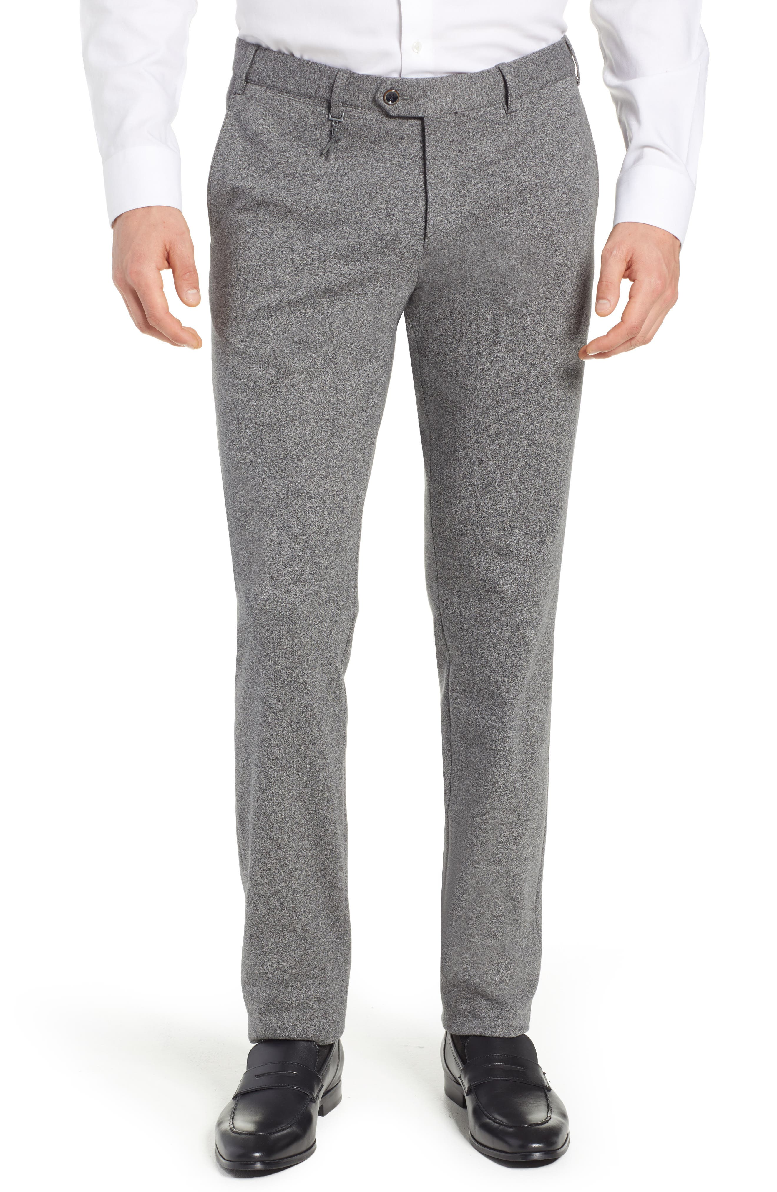 Tero Trim Fit Flat Front Solid Cotton Trousers,                             Main thumbnail 1, color,                             GREY