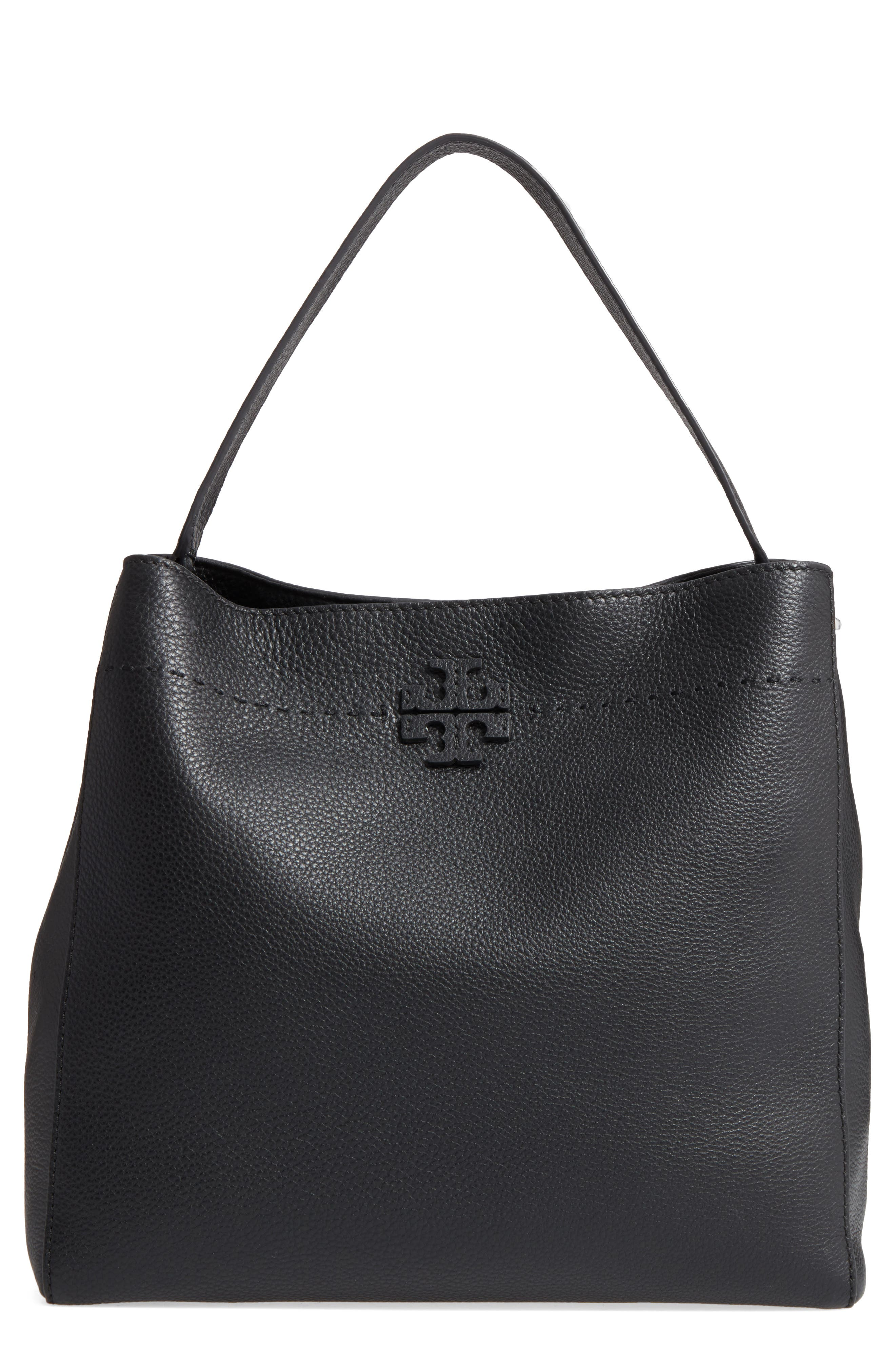 McGraw Leather Hobo,                         Main,                         color, BLACK