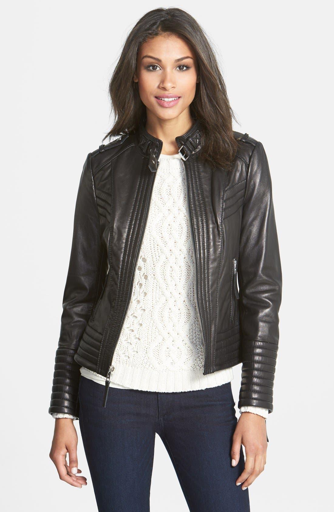 Quilt Detail Leather Jacket,                         Main,                         color, 001