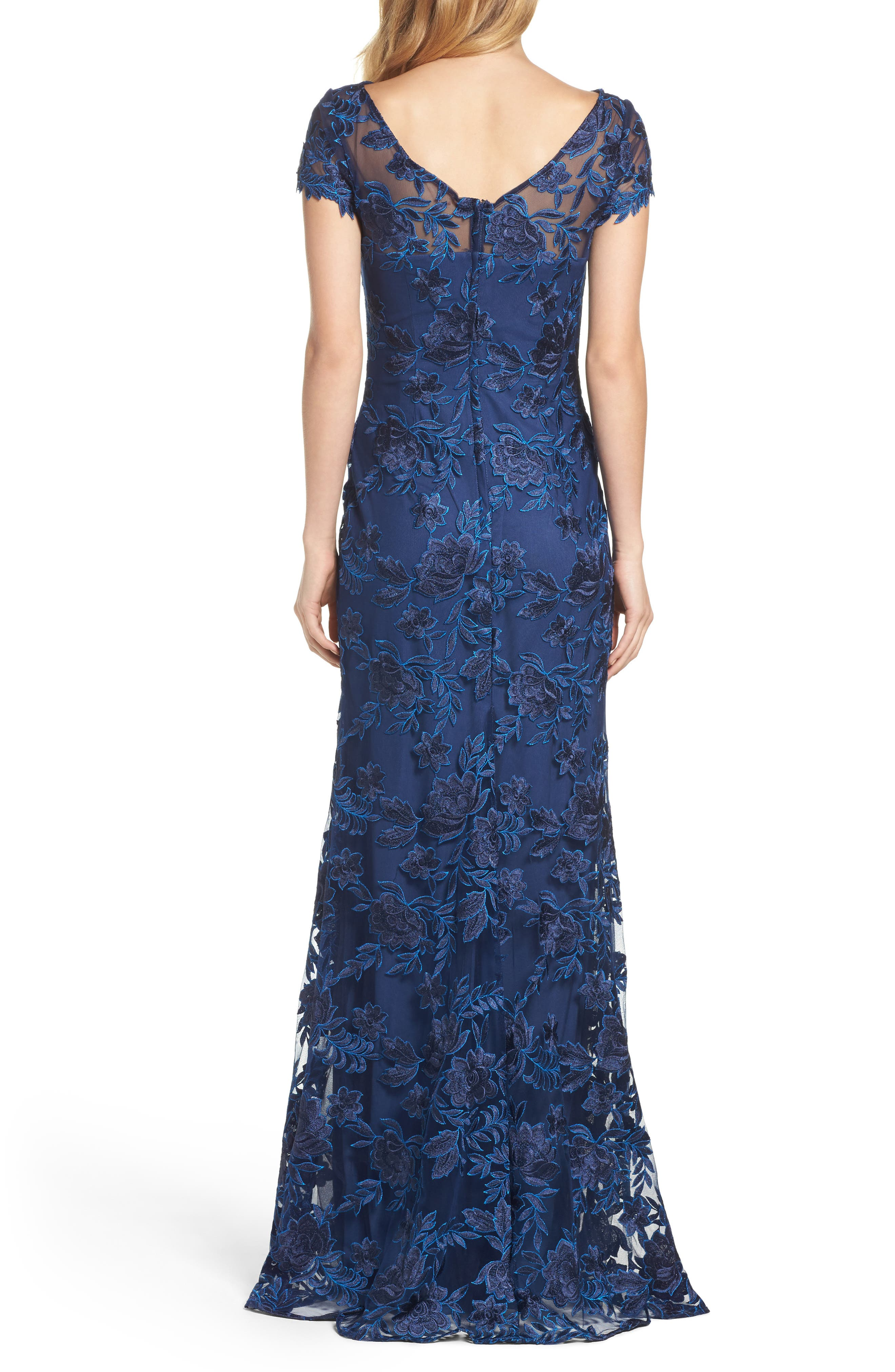 Lace Overlay Gown,                             Alternate thumbnail 2, color,                             NAVY