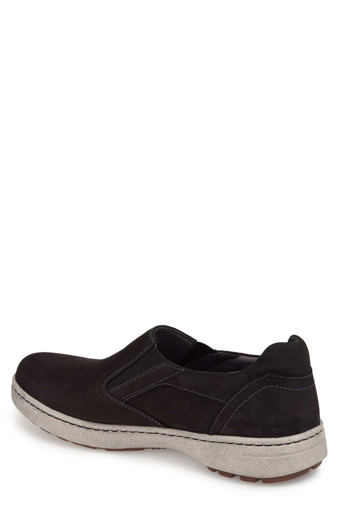 'Viktor' Water Resistant Slip-On Sneaker,                             Alternate thumbnail 2, color,                             BLACK MILLED NUBUCK LEATHER