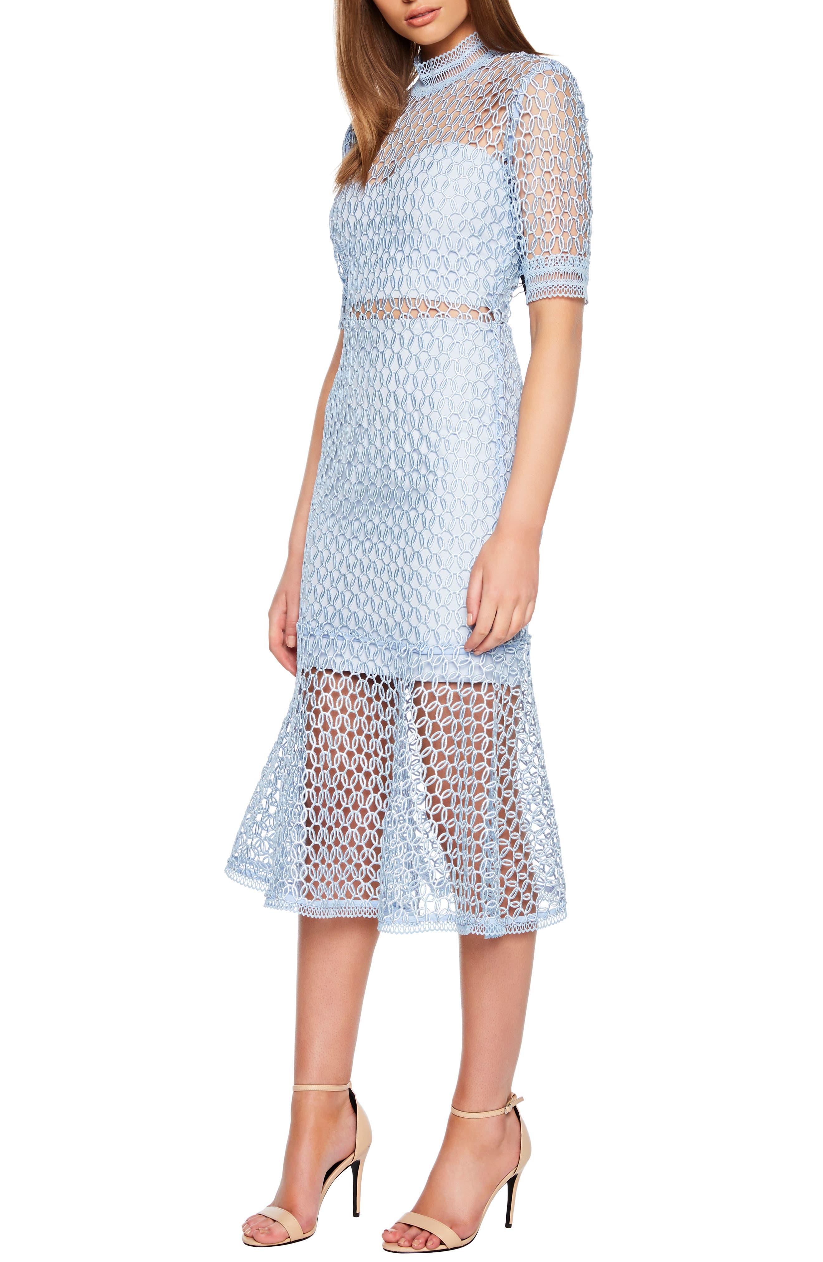 Bardot Fiona Mesh Lace Trumpet Dress, Blue