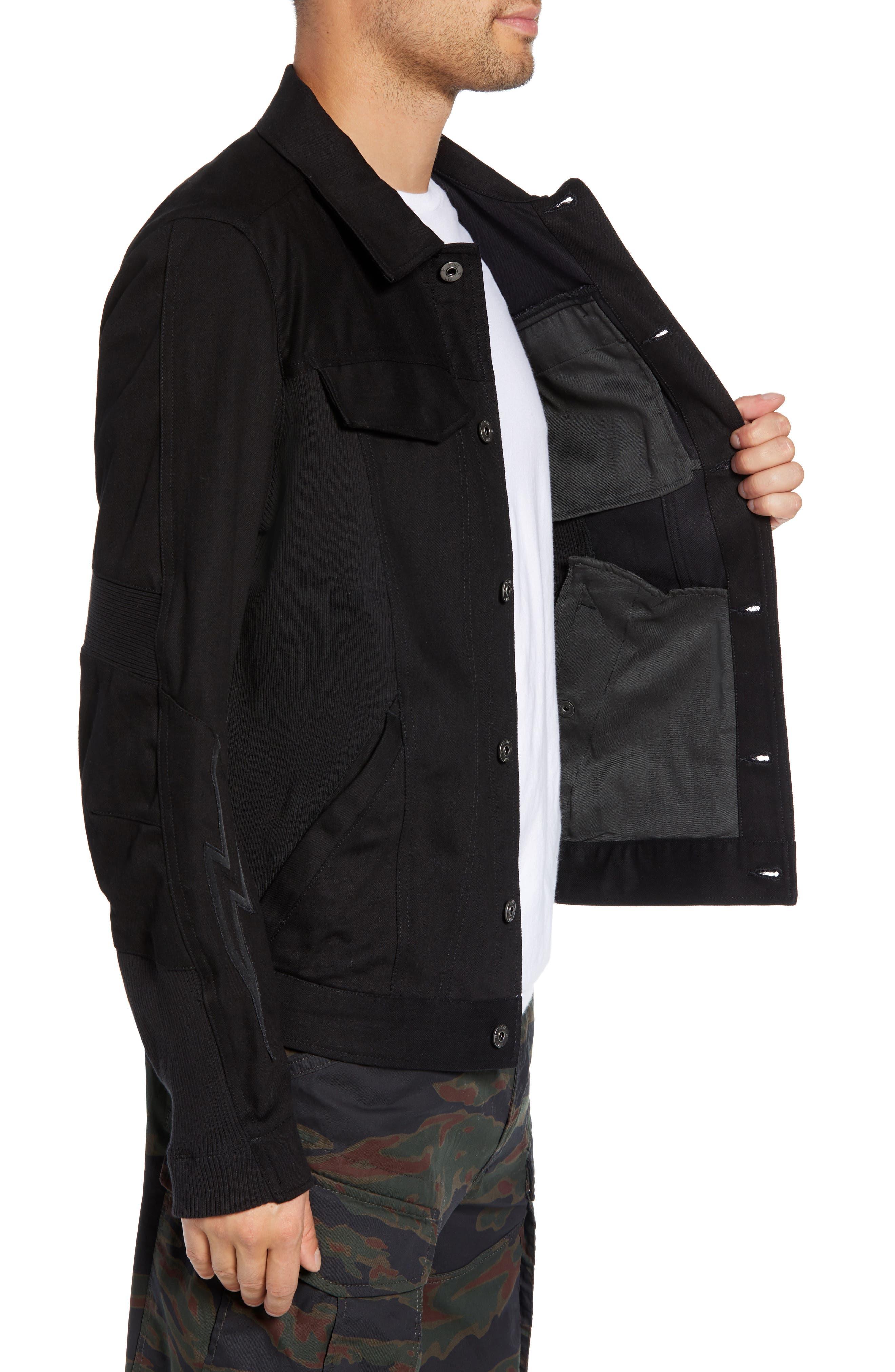 Motac-X Moto Uni Slim Cotton Denim Jacket,                             Alternate thumbnail 3, color,                             RAW DENIM