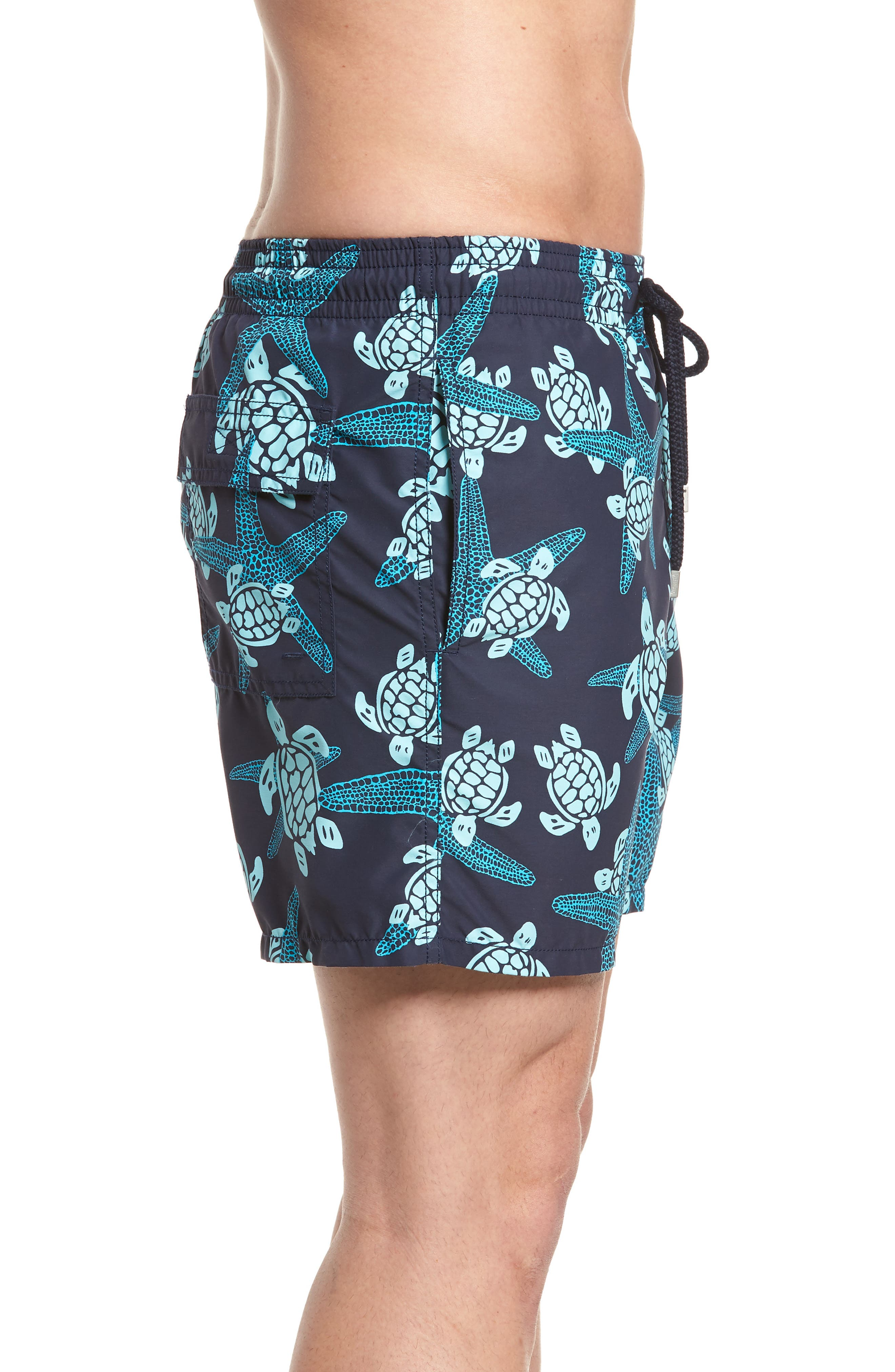 Starlette Turtle Print Swim Trunks,                             Alternate thumbnail 3, color,                             NAVY