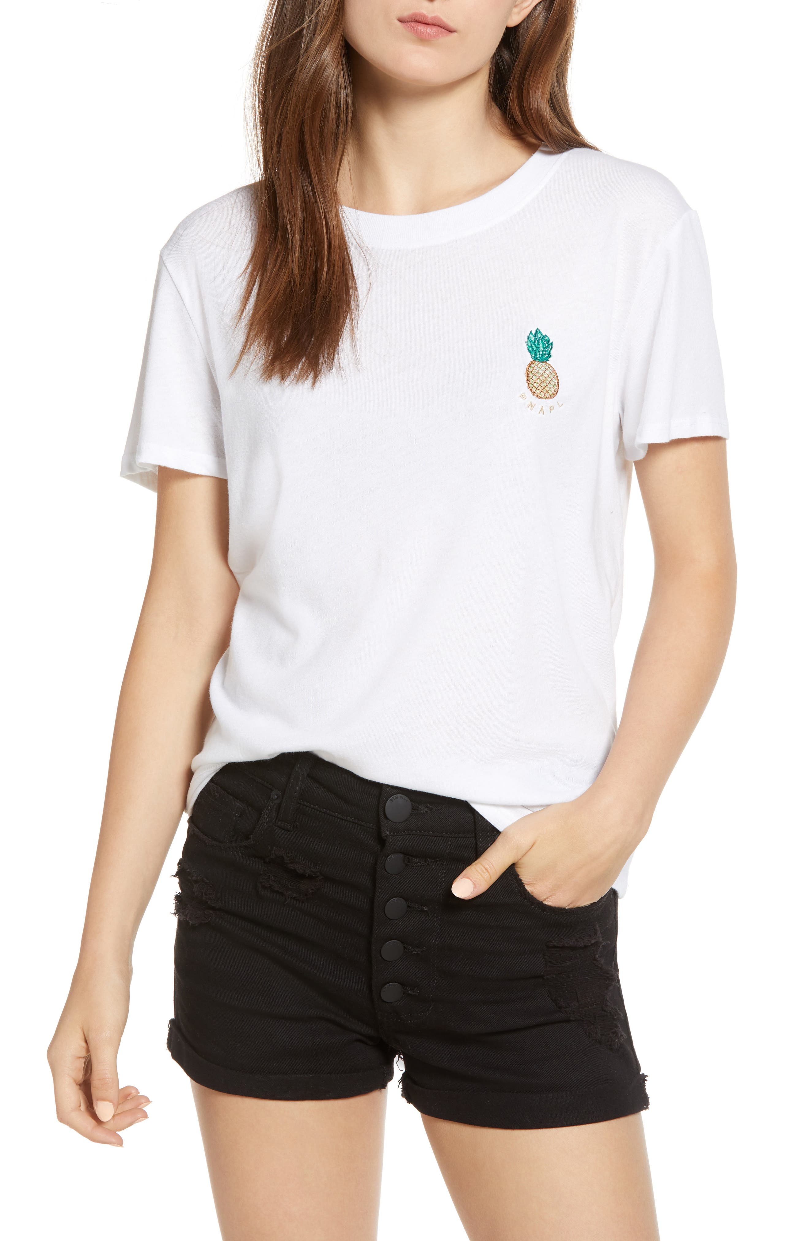 Pineapple Embellished Slouched Tee,                         Main,                         color, WHITE
