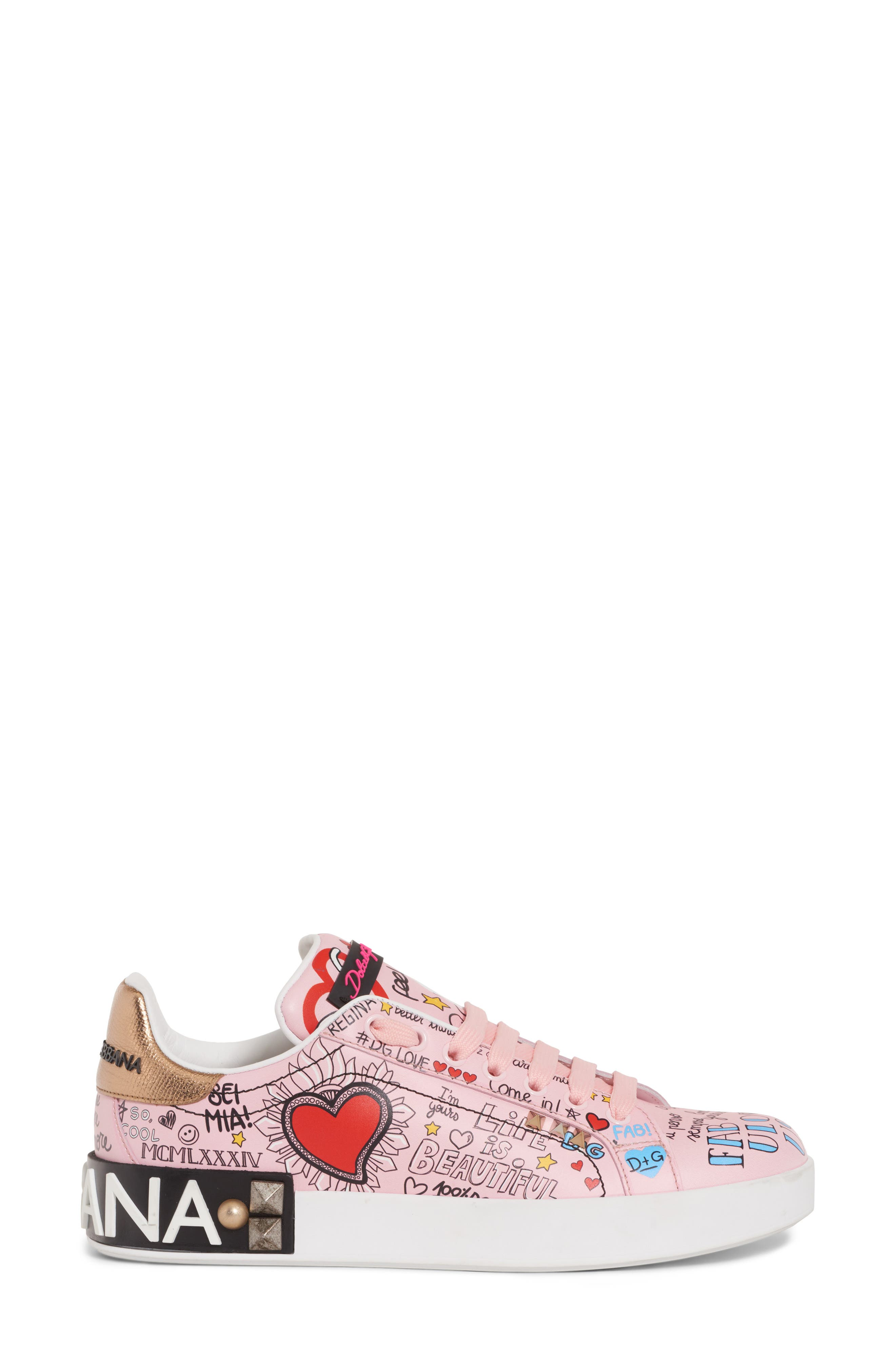 DOLCE&GABBANA,                             Mural Graffiti Sneaker,                             Alternate thumbnail 3, color,                             690