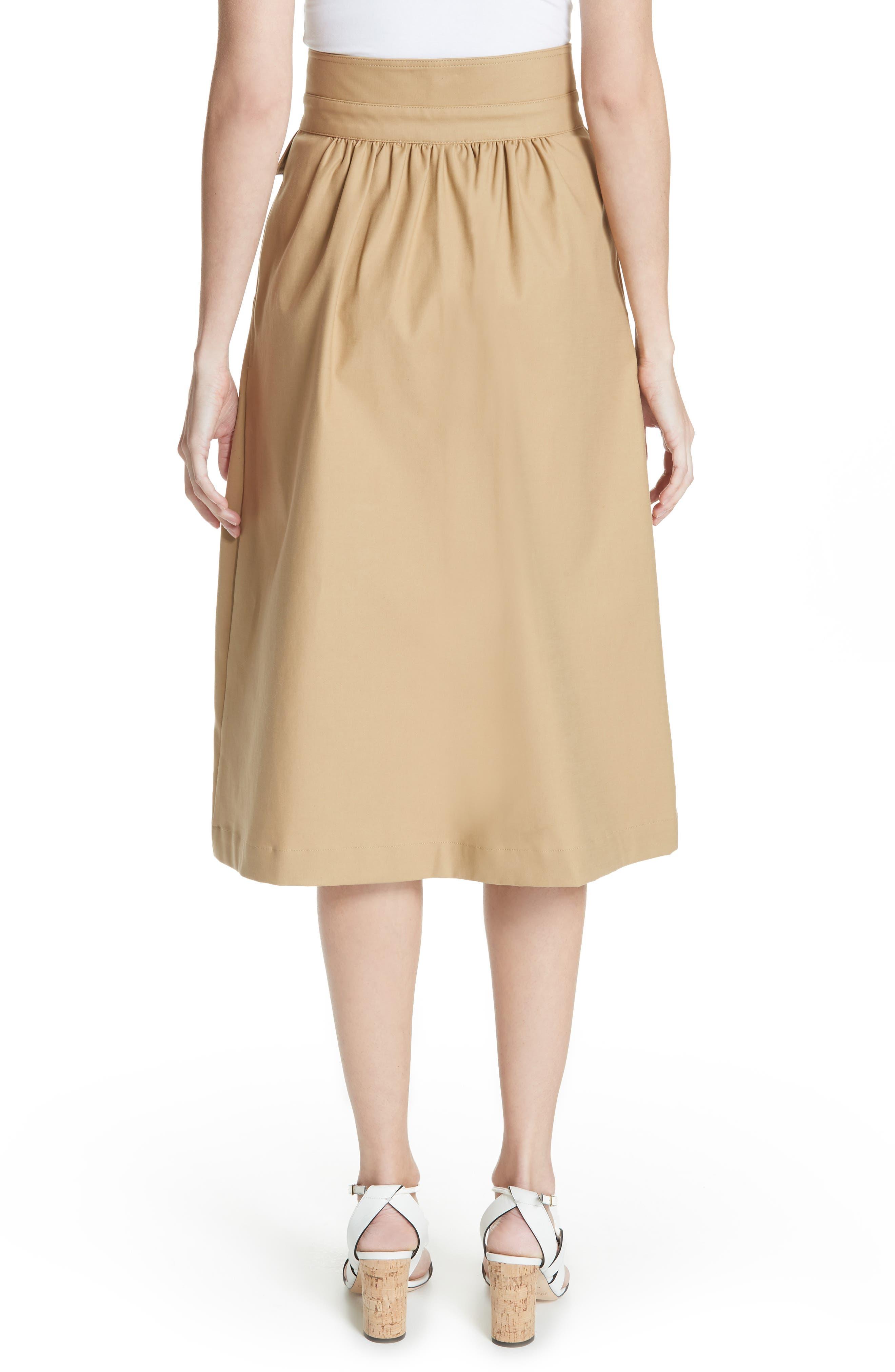 Kamille Peplum Waist Skirt,                             Alternate thumbnail 2, color,                             KHAKI