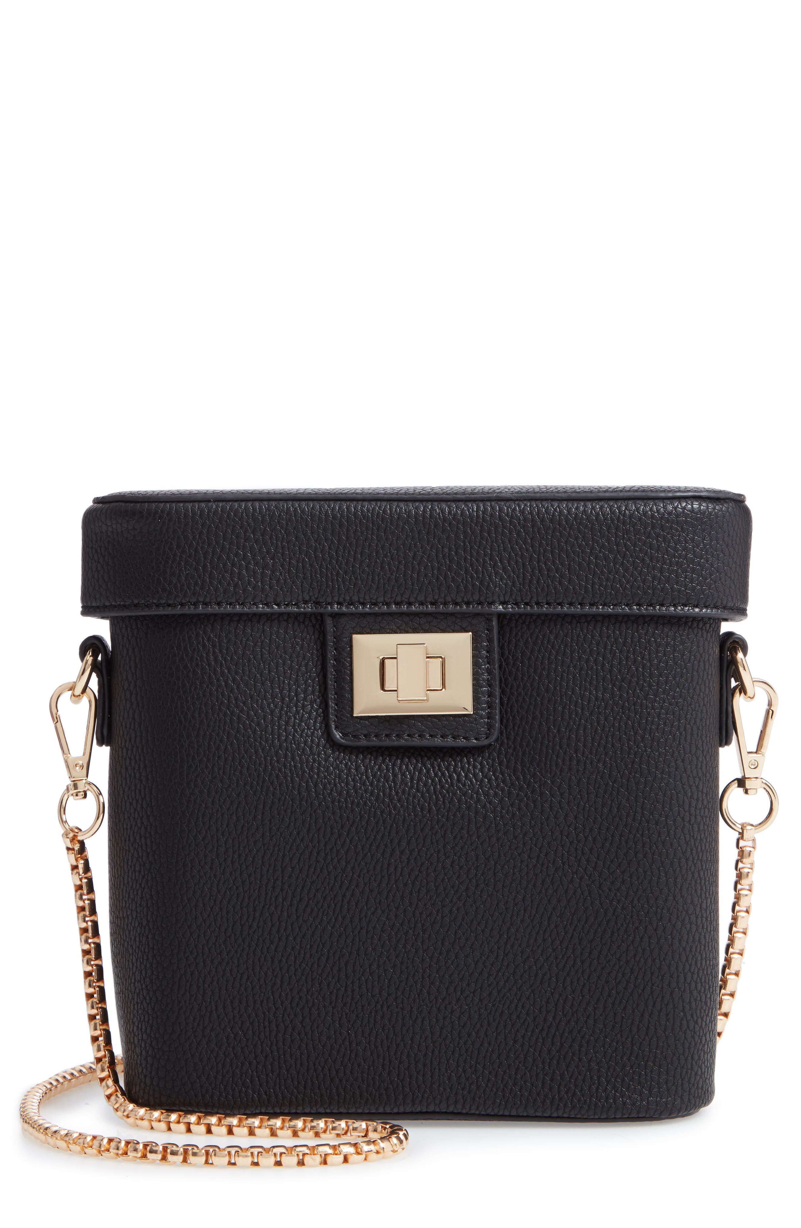 Lindsey Faux Leather Crossbody Bag,                         Main,                         color, BLACK
