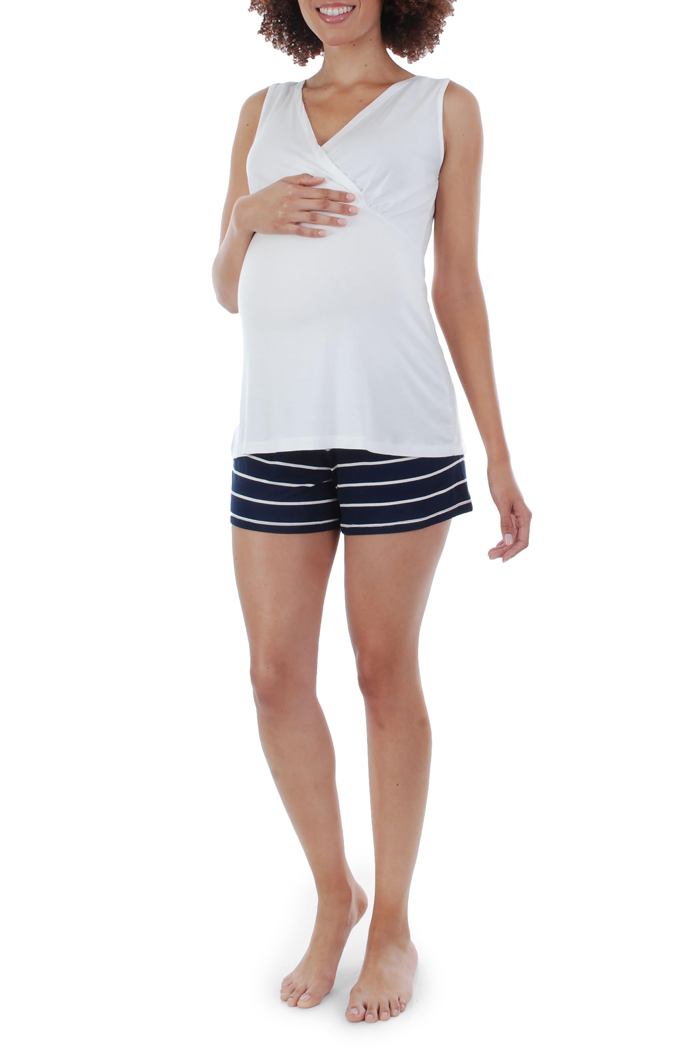 EVERLY GREY,                             Adalia 5-Piece Maternity/Nursing Pajama Set,                             Alternate thumbnail 3, color,                             NAVY STRIPE