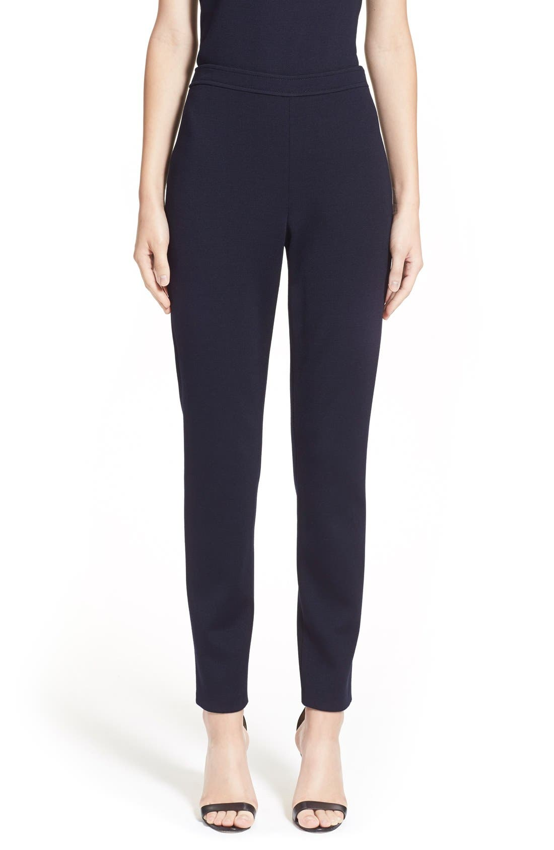 'Alexa' Stretch Milano Knit Ankle Pants,                             Main thumbnail 1, color,                             NAVY