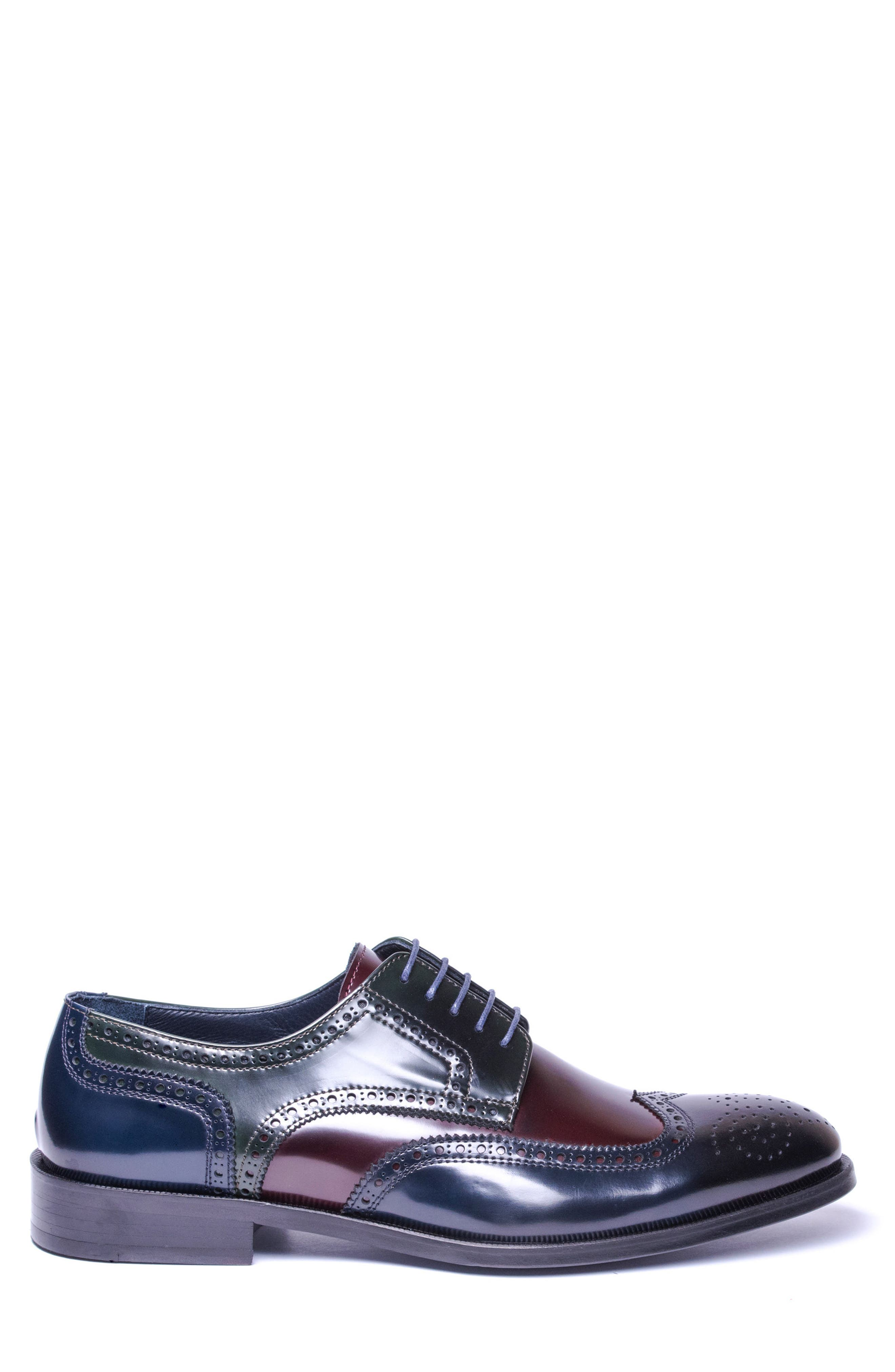 Bryce Wingtip Derby,                             Alternate thumbnail 3, color,                             BROWN/ BLUE LEATHER