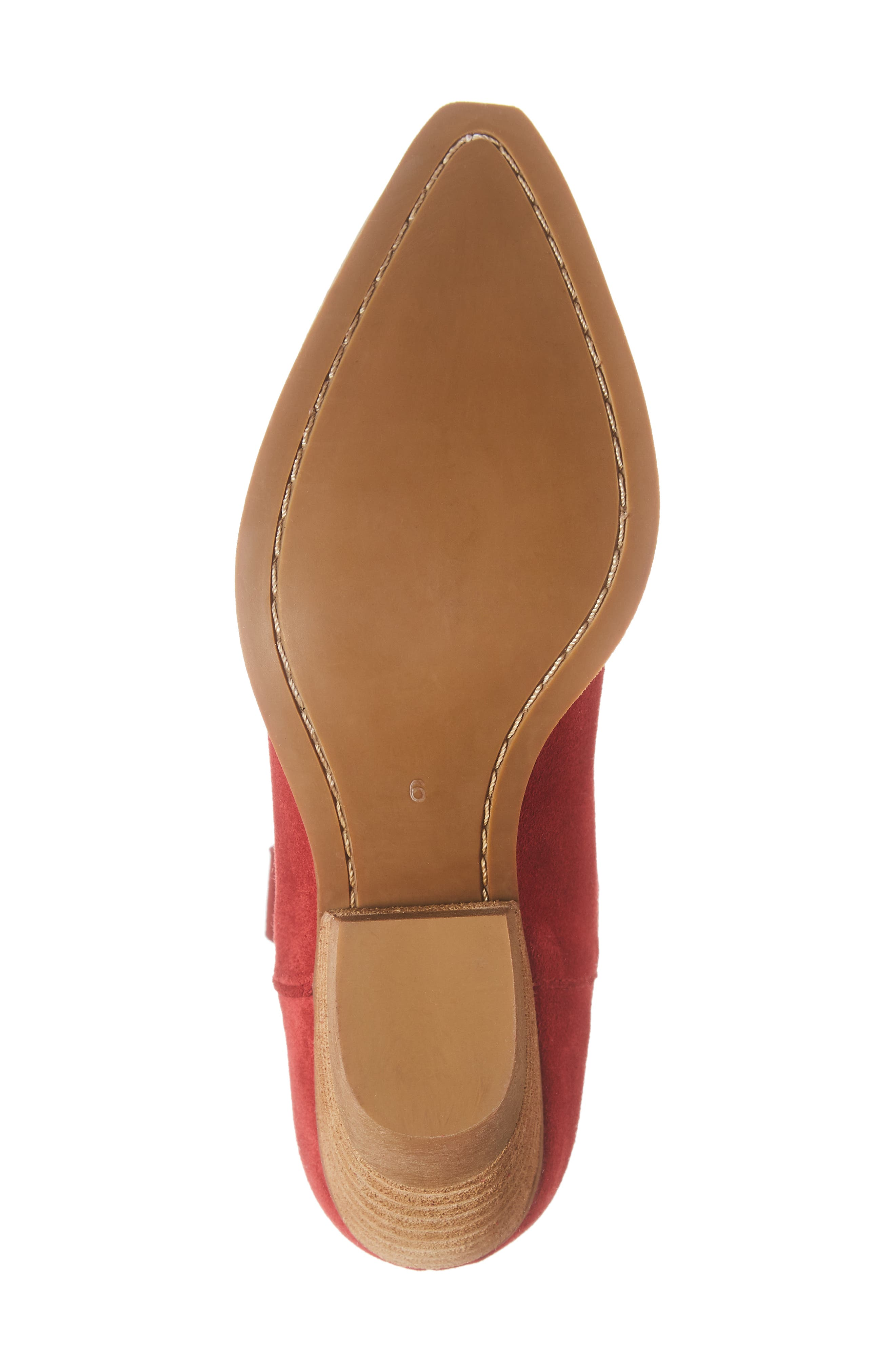 Calvera Western Boot,                             Alternate thumbnail 6, color,                             RED SUEDE