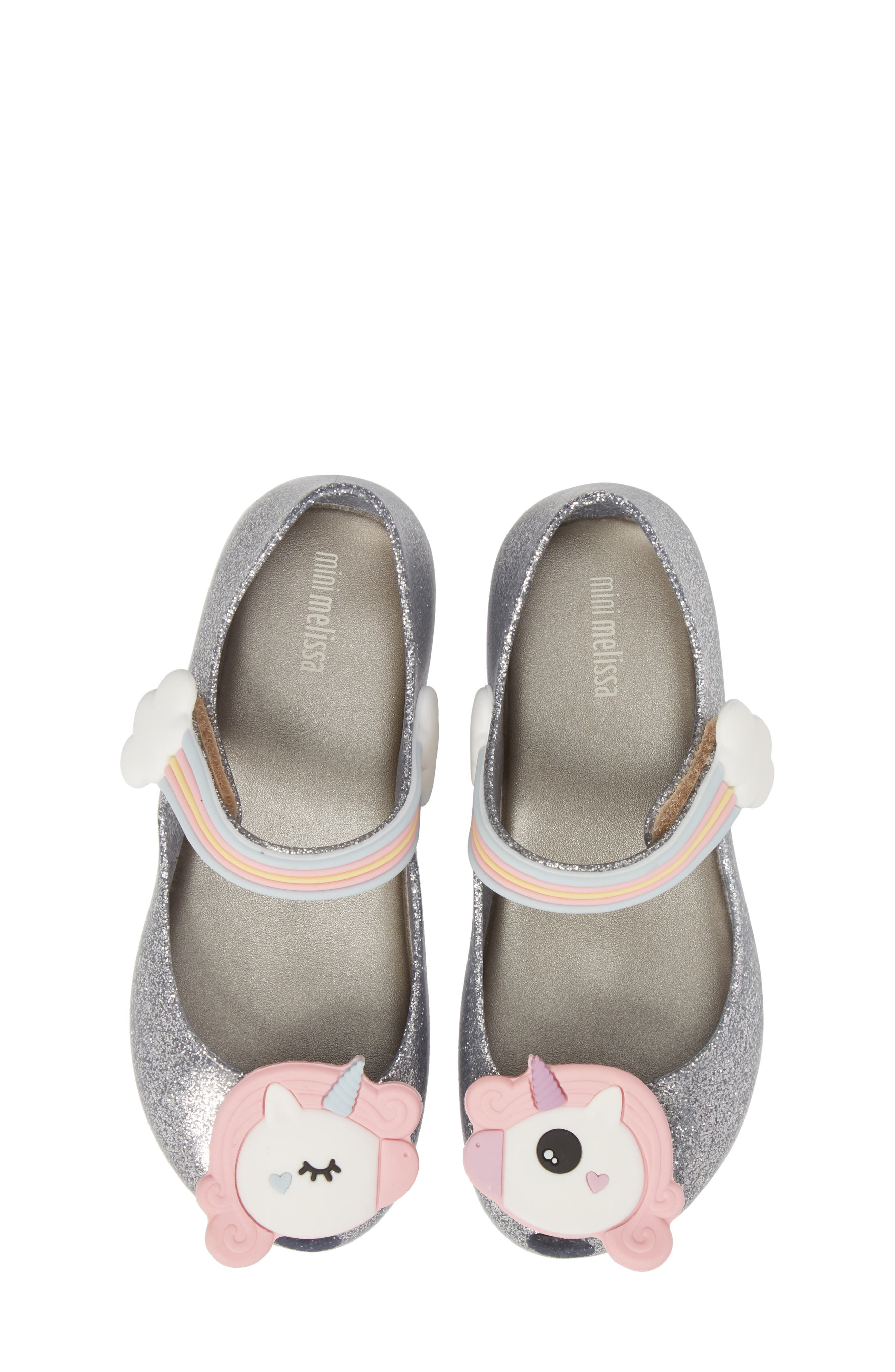 Ultragirl Unicorn Glittery Mary Jane Flat,                         Main,                         color, SILVER GLITZ