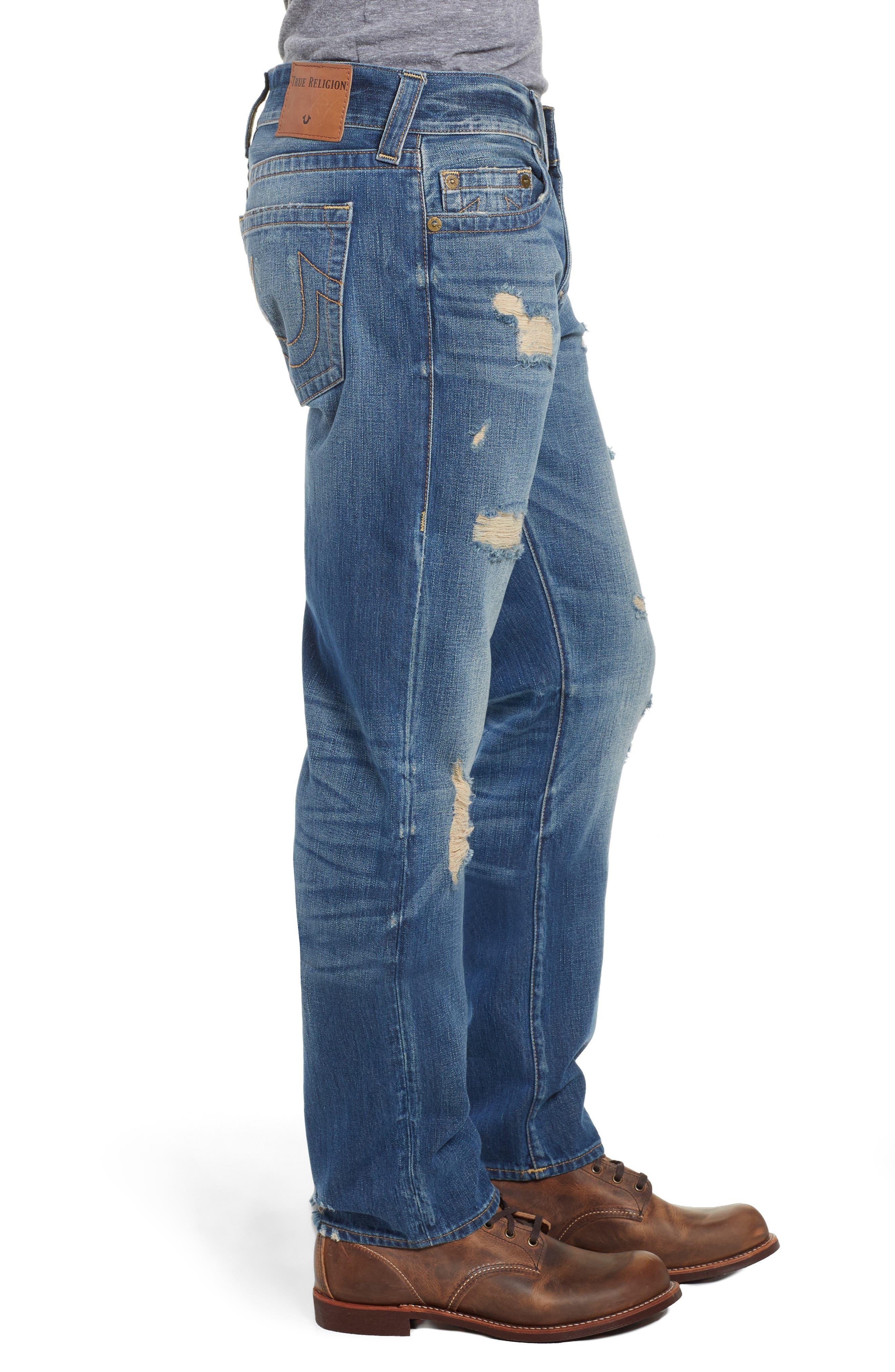 TRUE RELIGION BRAND JEANS,                             Geno Straight Leg Jeans,                             Alternate thumbnail 3, color,                             WORN REBEL