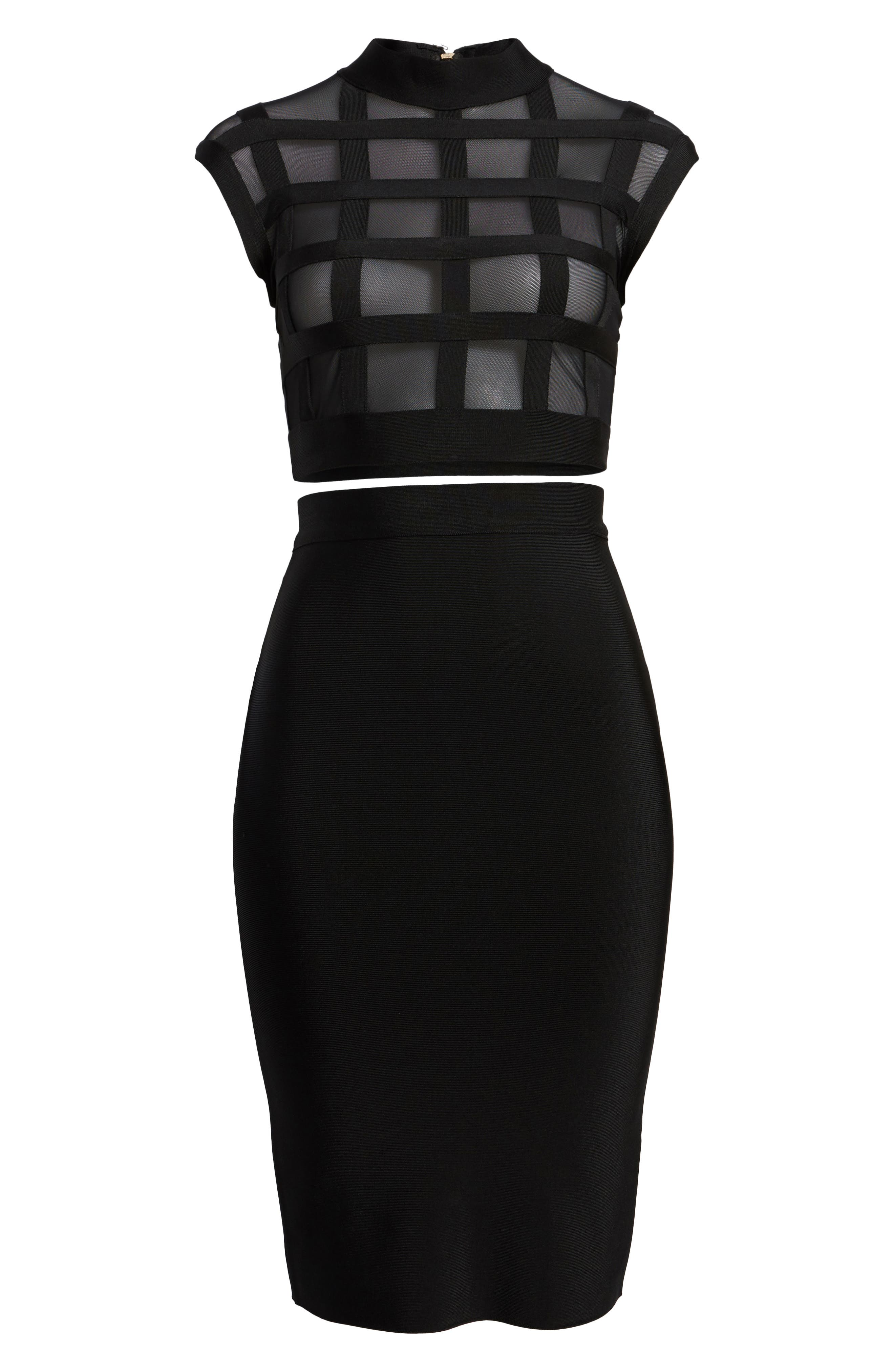 Cagebird Two-Piece Body-Con Dress,                             Alternate thumbnail 6, color,                             BLACK