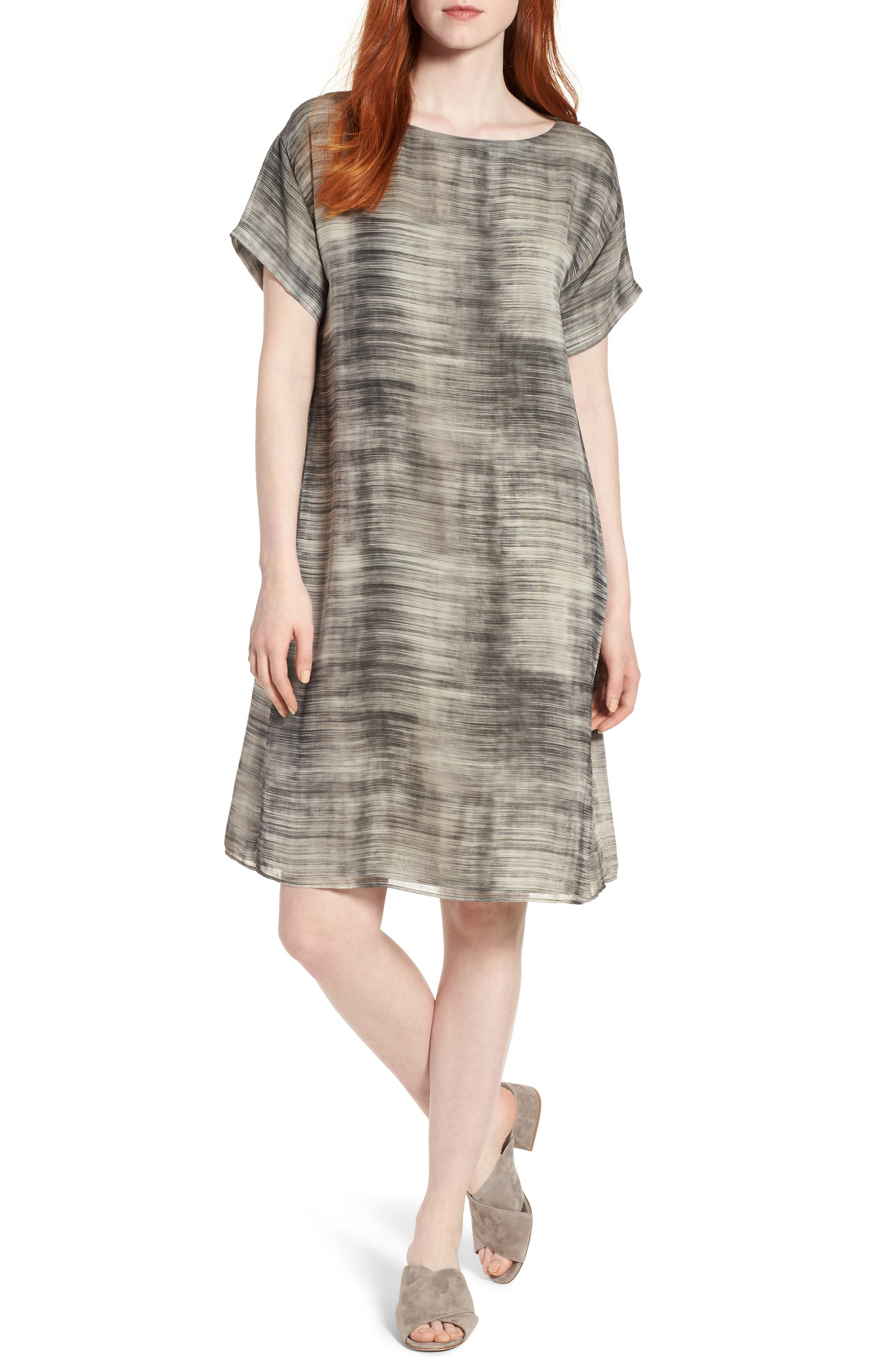 Bateau Neck Silk Shift Dress,                             Main thumbnail 1, color,