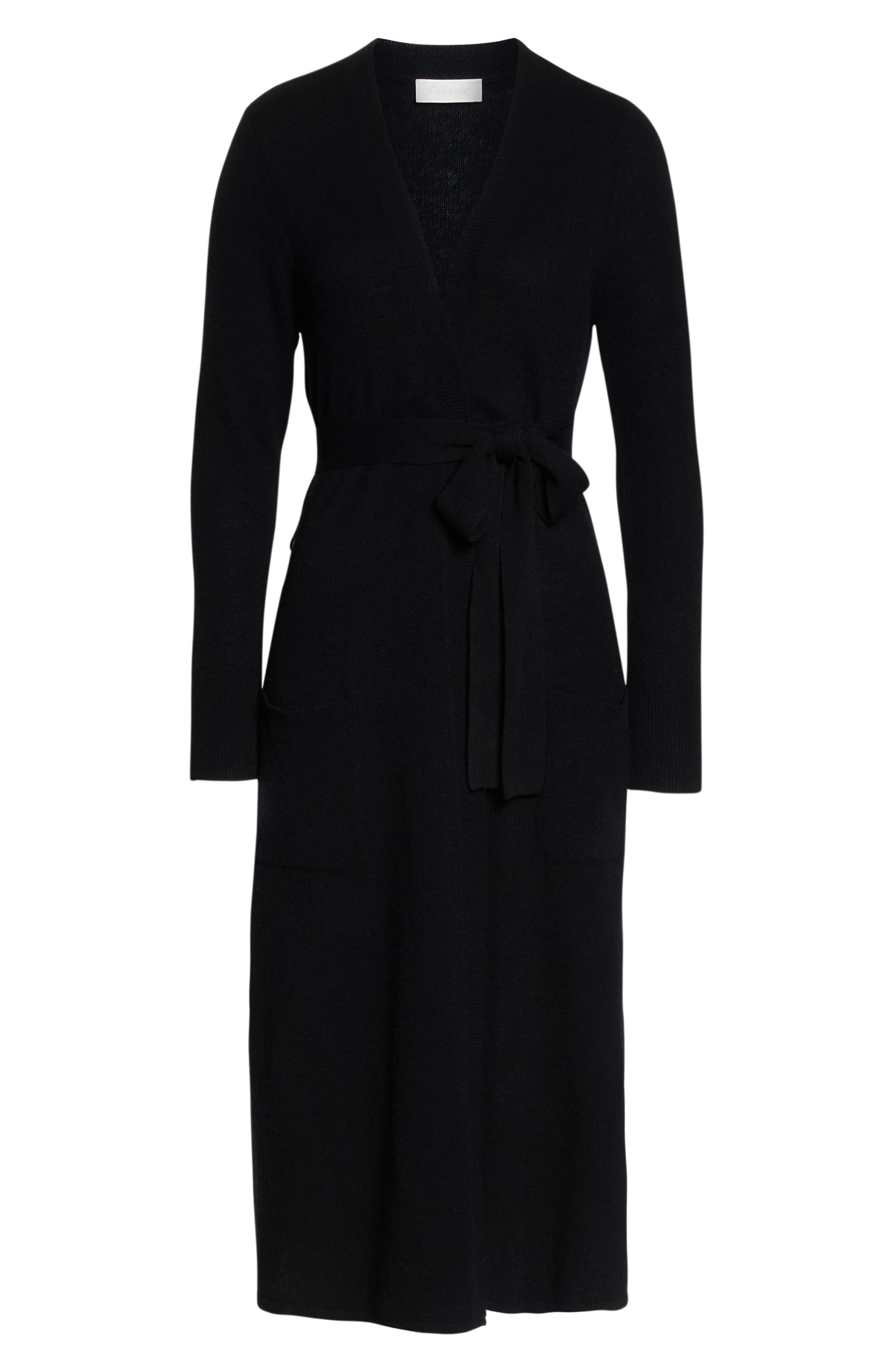 Cashmere Robe,                             Alternate thumbnail 6, color,                             BLACK