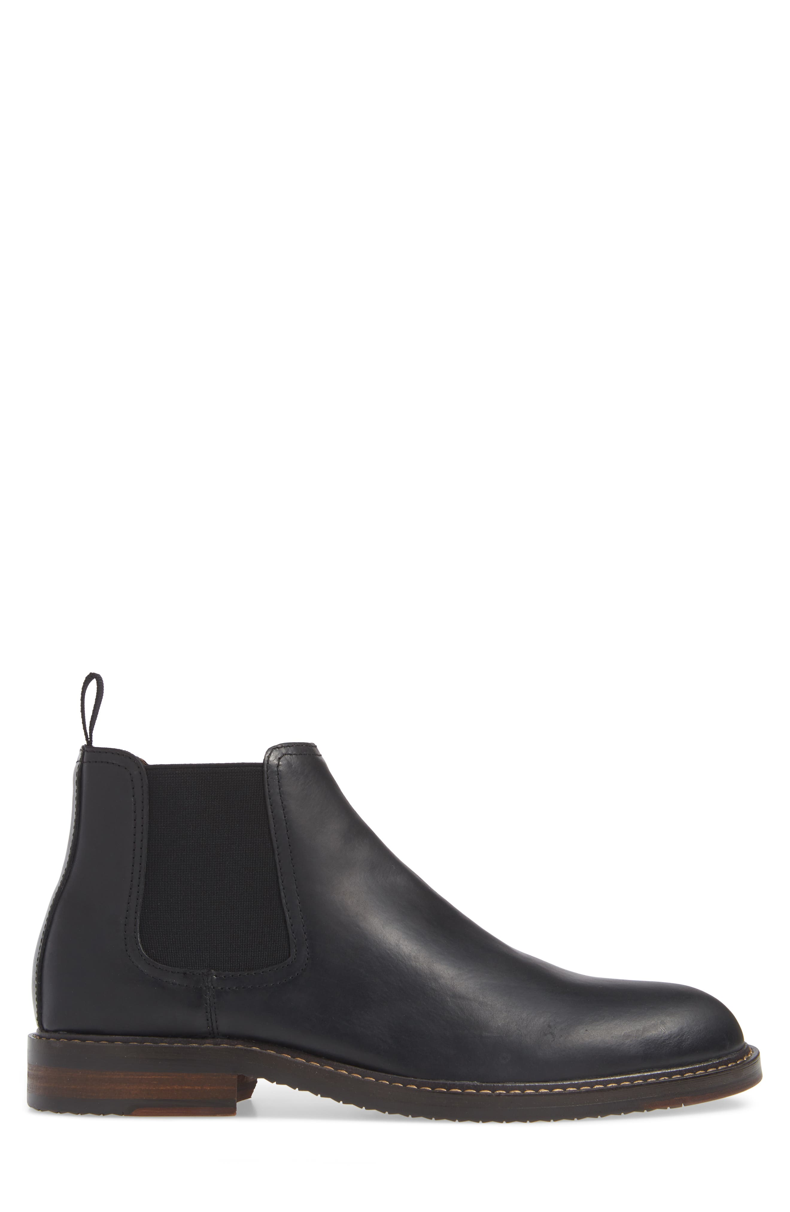 Brooks Chelsea Boot,                             Alternate thumbnail 3, color,                             BLACK LEATHER