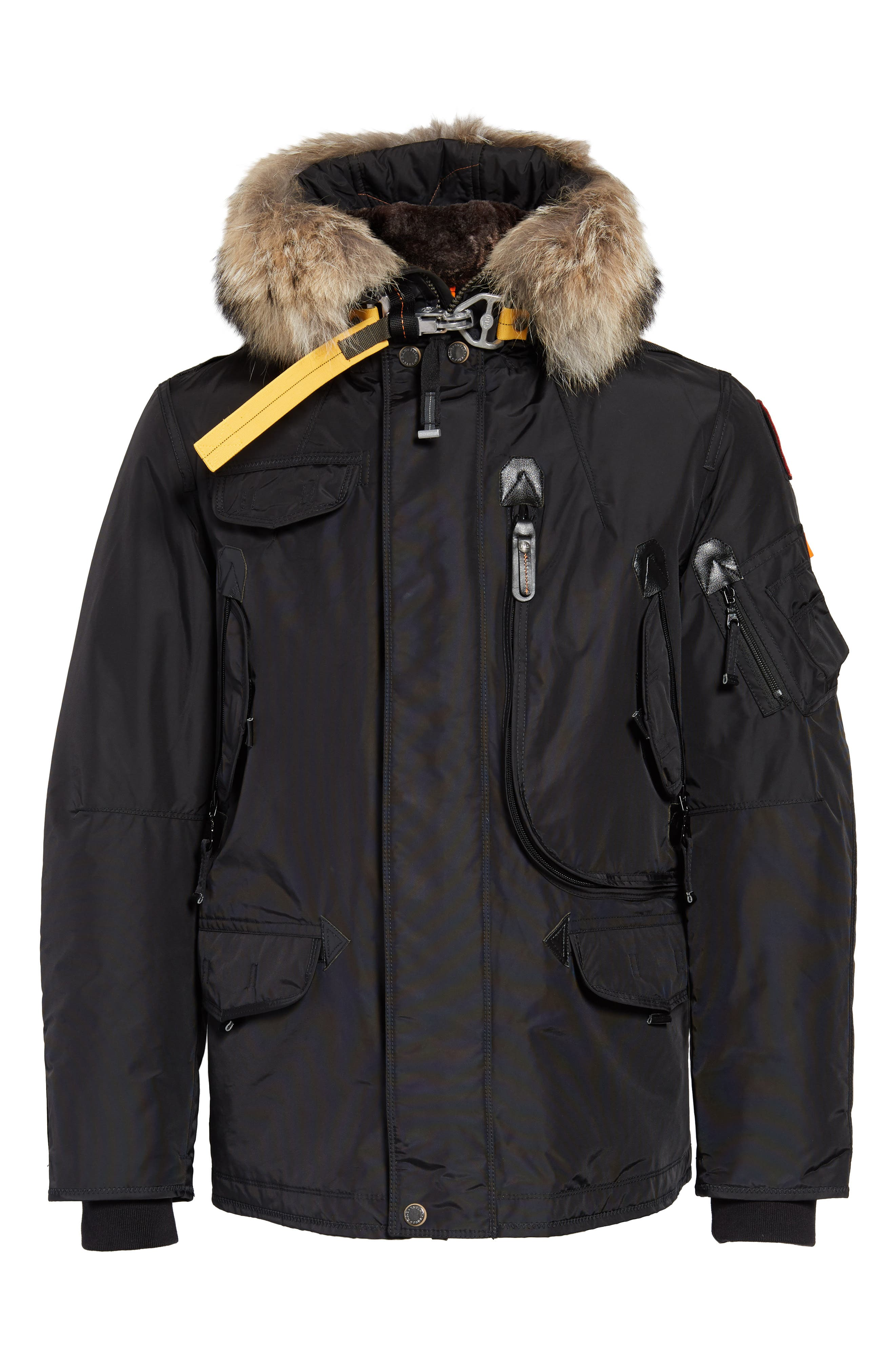 Right Hand Light 700 Fill Waterproof Power Down Jacket with Genuine Coyote Fur Trim,                             Alternate thumbnail 6, color,                             BLACK