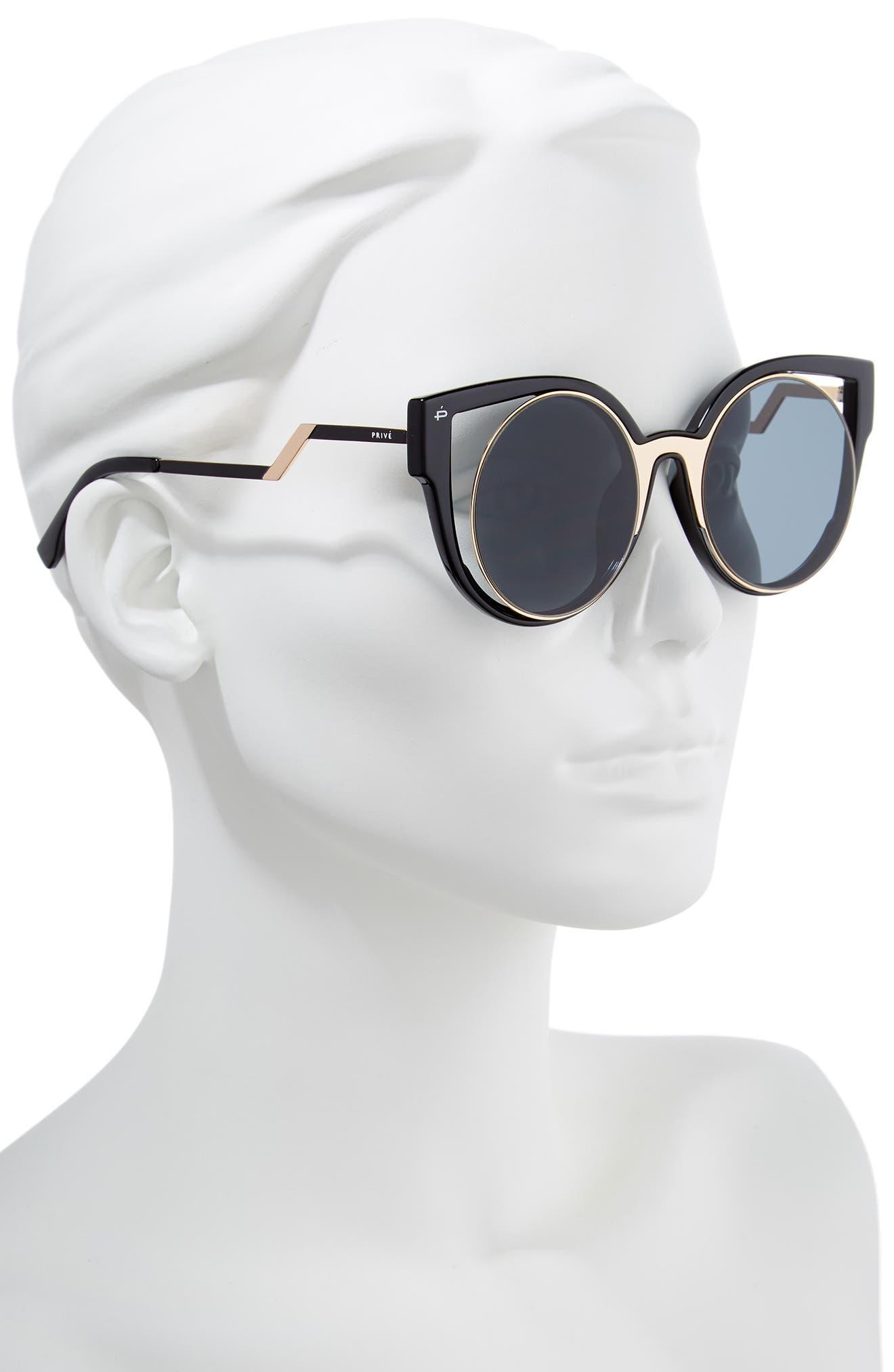 Privé Revaux The Feminist 47mm Cat Eye Sunglasses,                             Alternate thumbnail 2, color,                             001